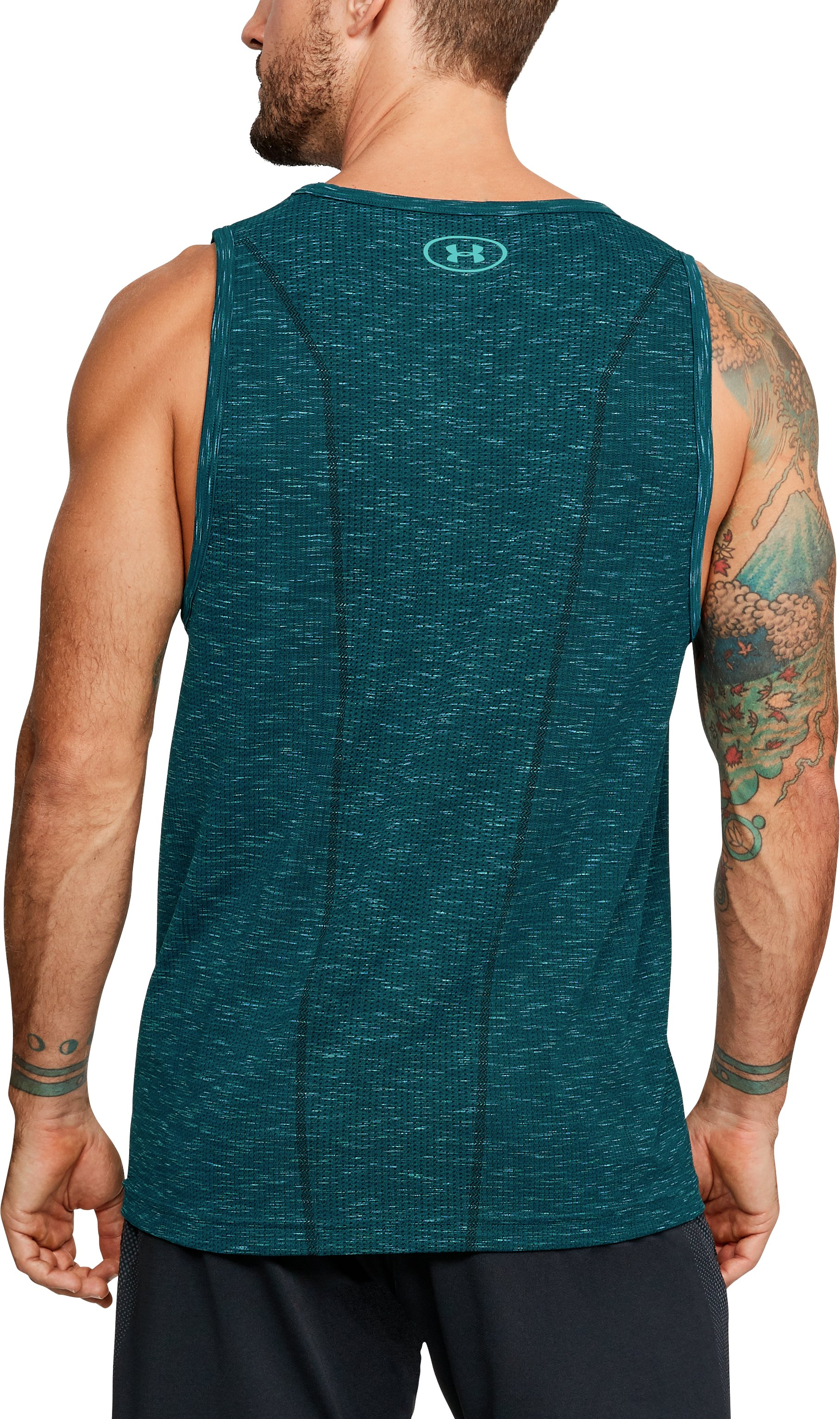Men's UA Threadborne Seamless Tank, TOURMALINE TEAL,