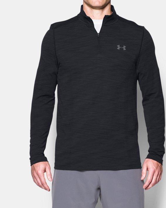 Men's UA Threadborne™ Seamless ¼ Zip, Black, pdpMainDesktop image number 0