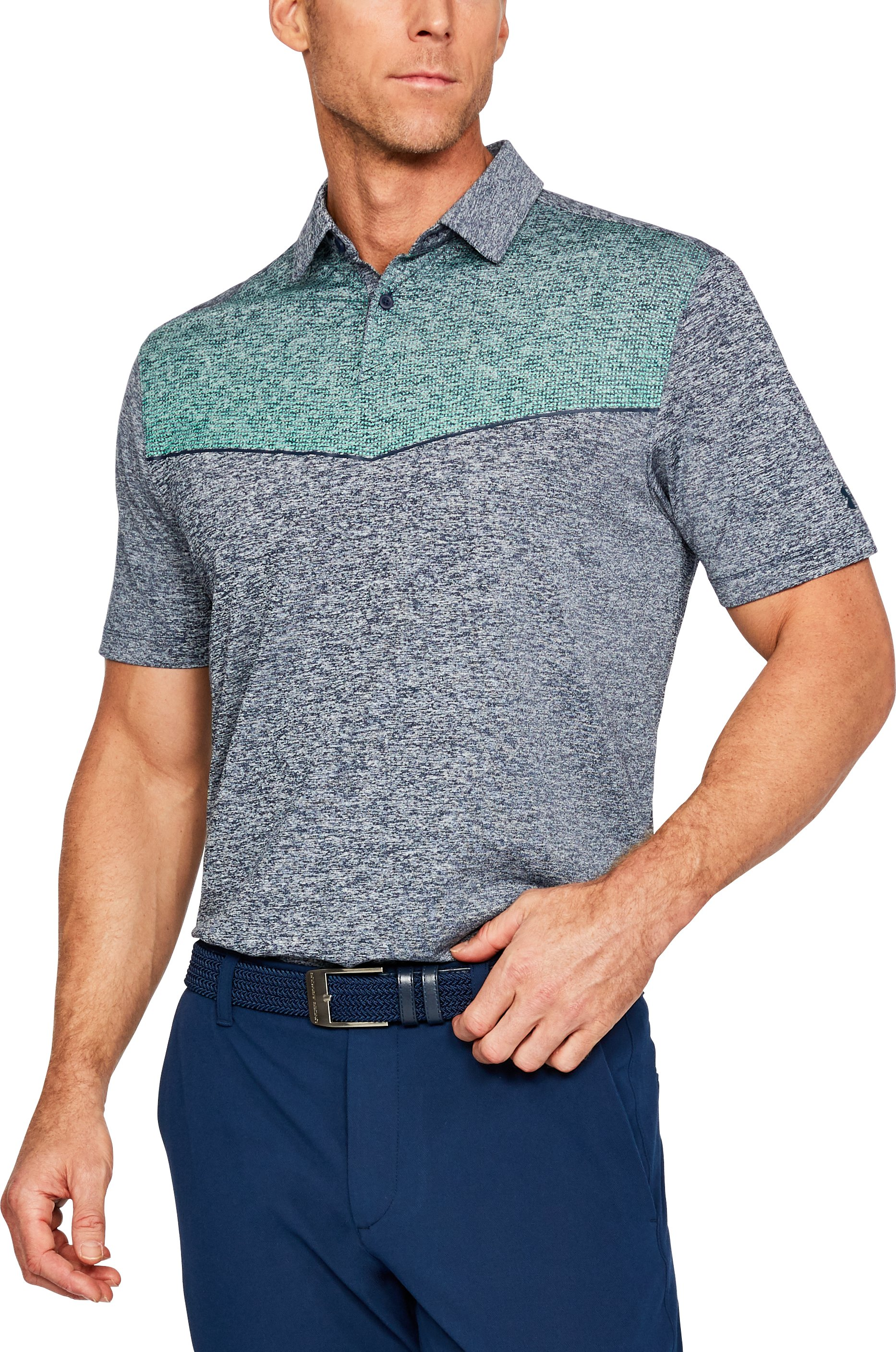 Men's UA CoolSwitch Graphic Polo, ACADEMY LIGHT HEATHER,