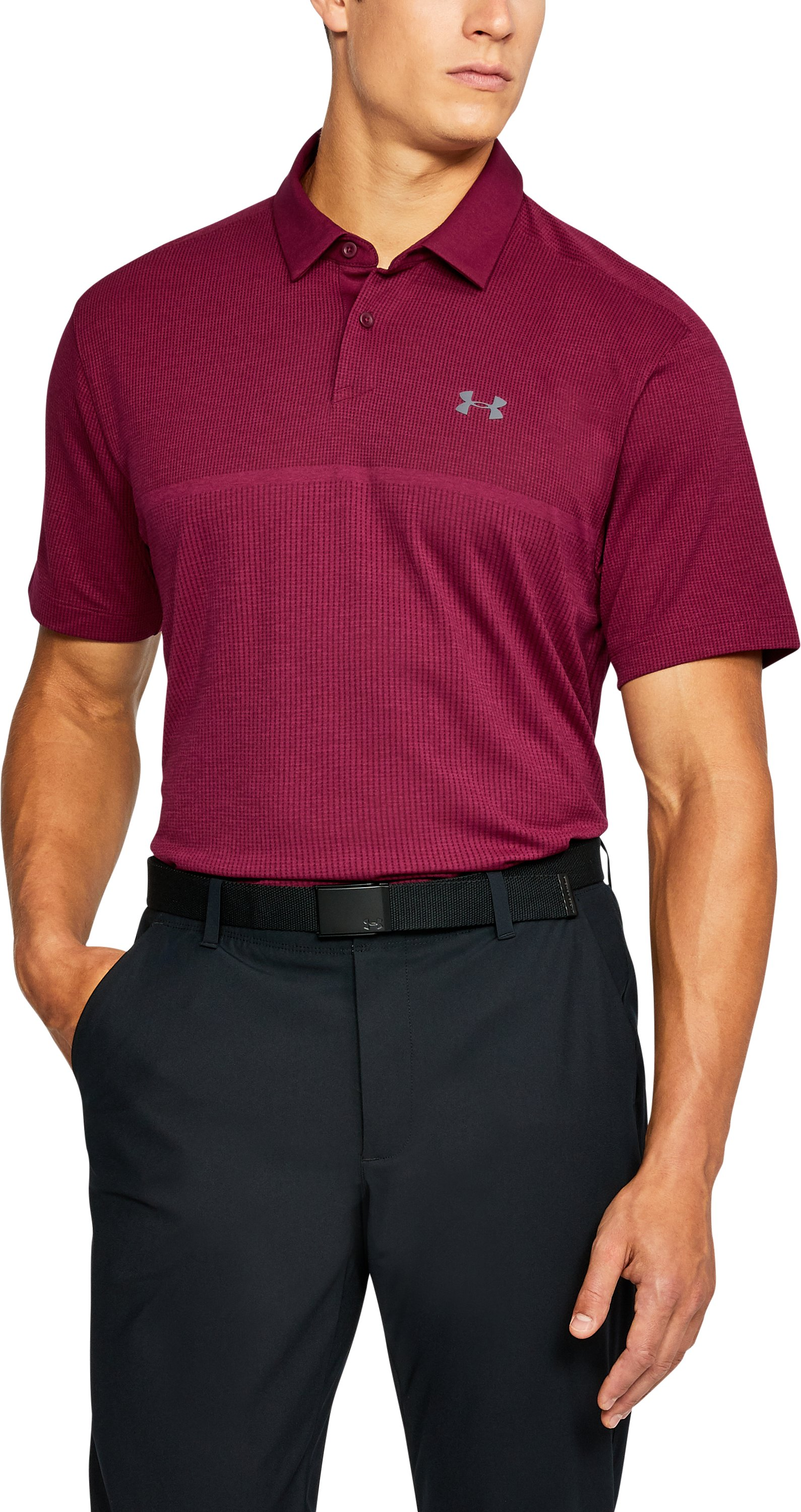 Men's UA Threadborne™ Tour Jacquard Polo, BLACK CURRANT, undefined