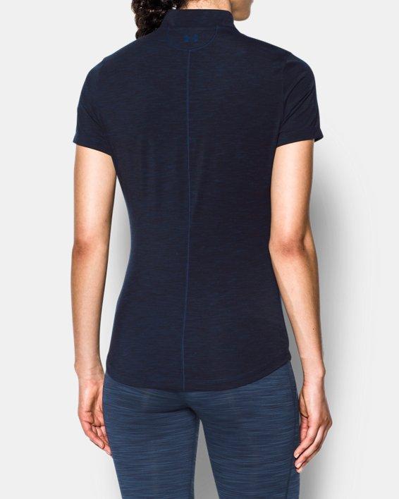 Women's UA Threadborne™ Zip Polo Shirt, Navy, pdpMainDesktop image number 2