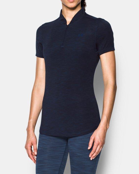 Women's UA Threadborne™ Zip Polo Shirt, Navy, pdpMainDesktop image number 0