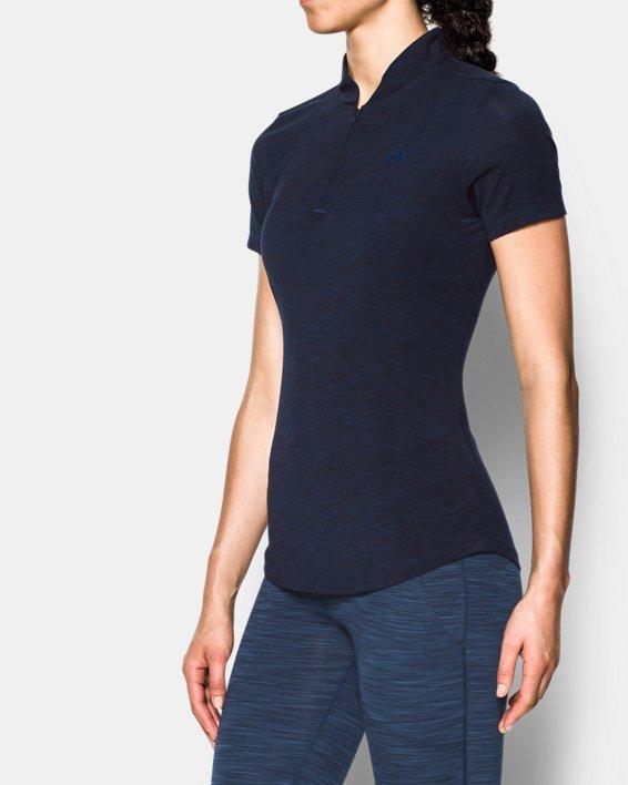 Women's UA Threadborne™ Zip Polo Shirt, Navy, pdpMainDesktop image number 1