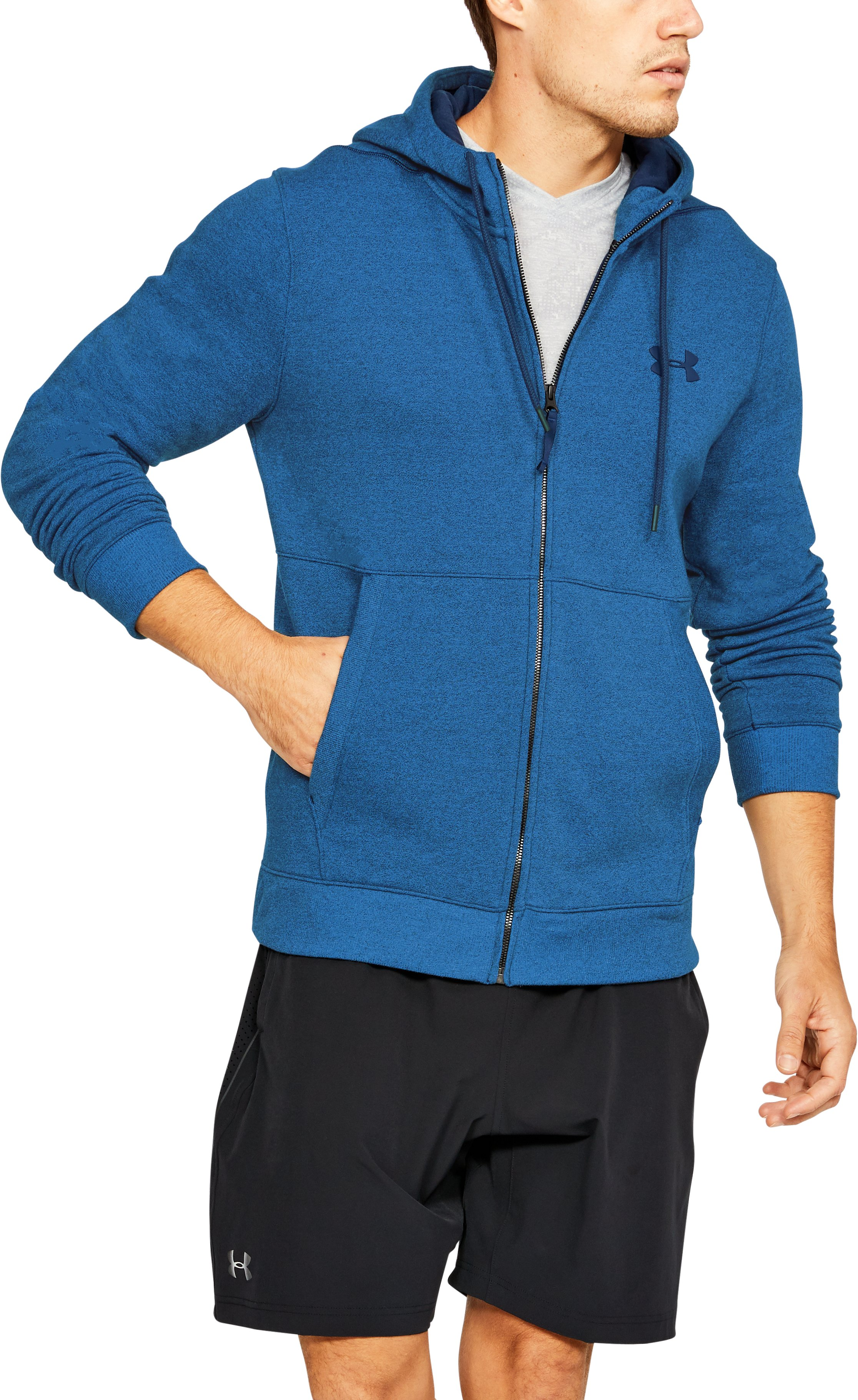 Men's UA Threadborne™ Fleece Full Zip Hoodie, Mediterranean