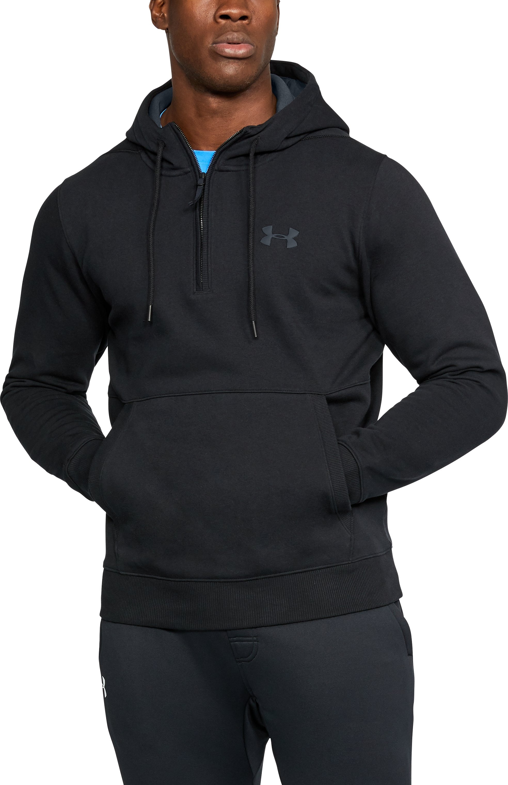 Men's UA Threadborne™ Fleece ½ Zip Hoodie, Black