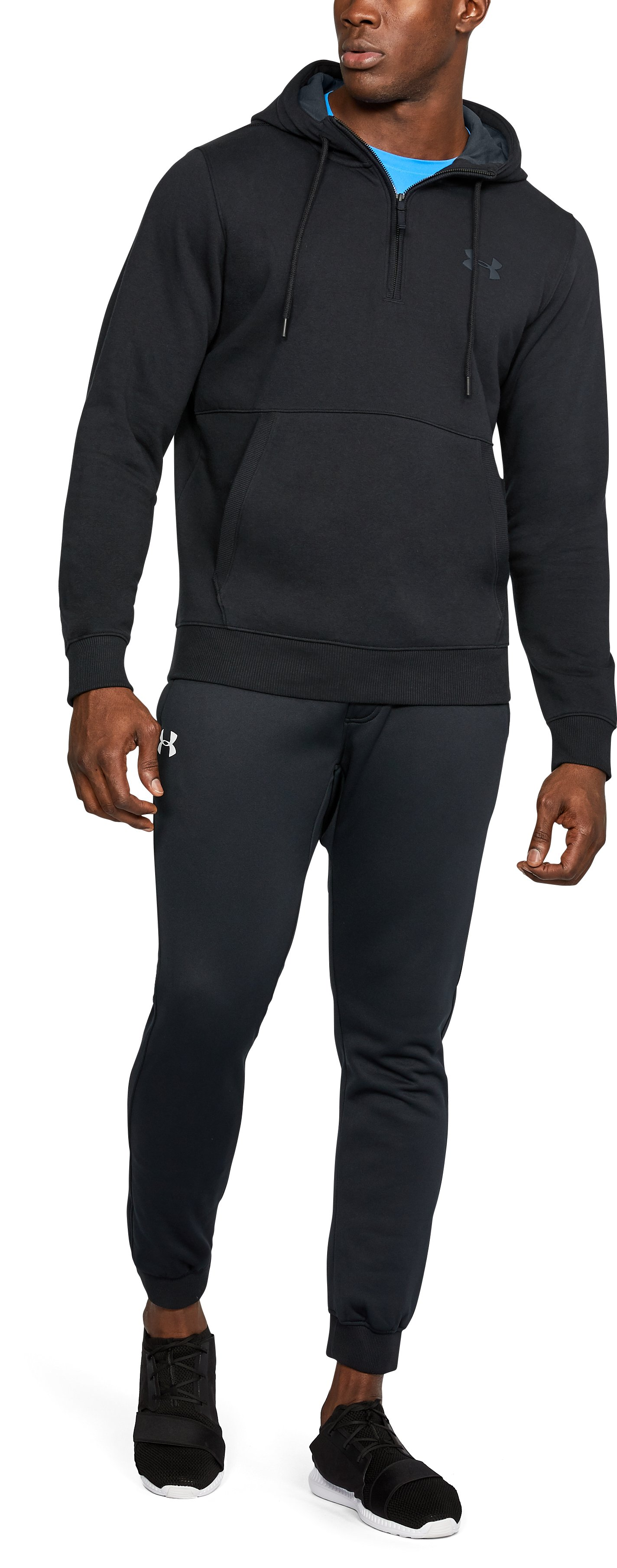 Men's UA Threadborne™ Fleece ½ Zip Hoodie, Black ,