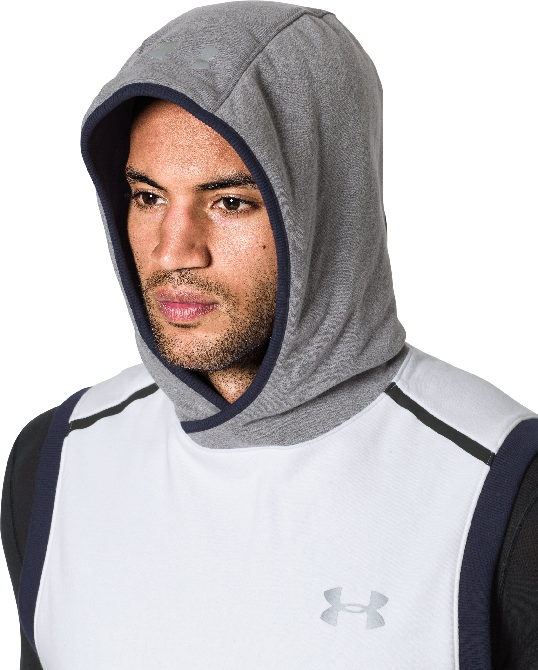 Men's UA Threadborne™ Fleece Sleeveless Hoodie, White,