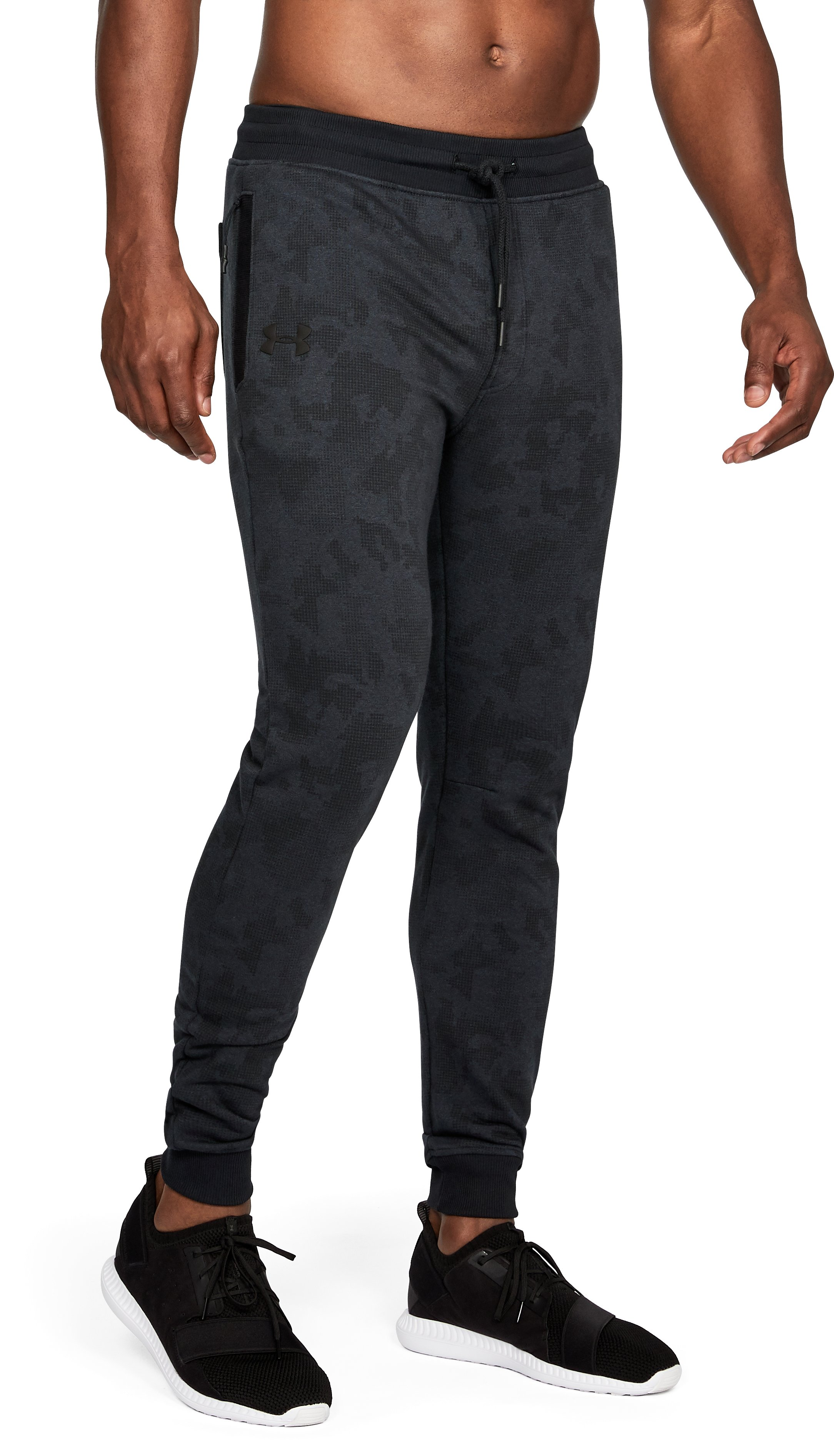 Men's UA Microthread Fleece Patterned Stacked Joggers, Black ,