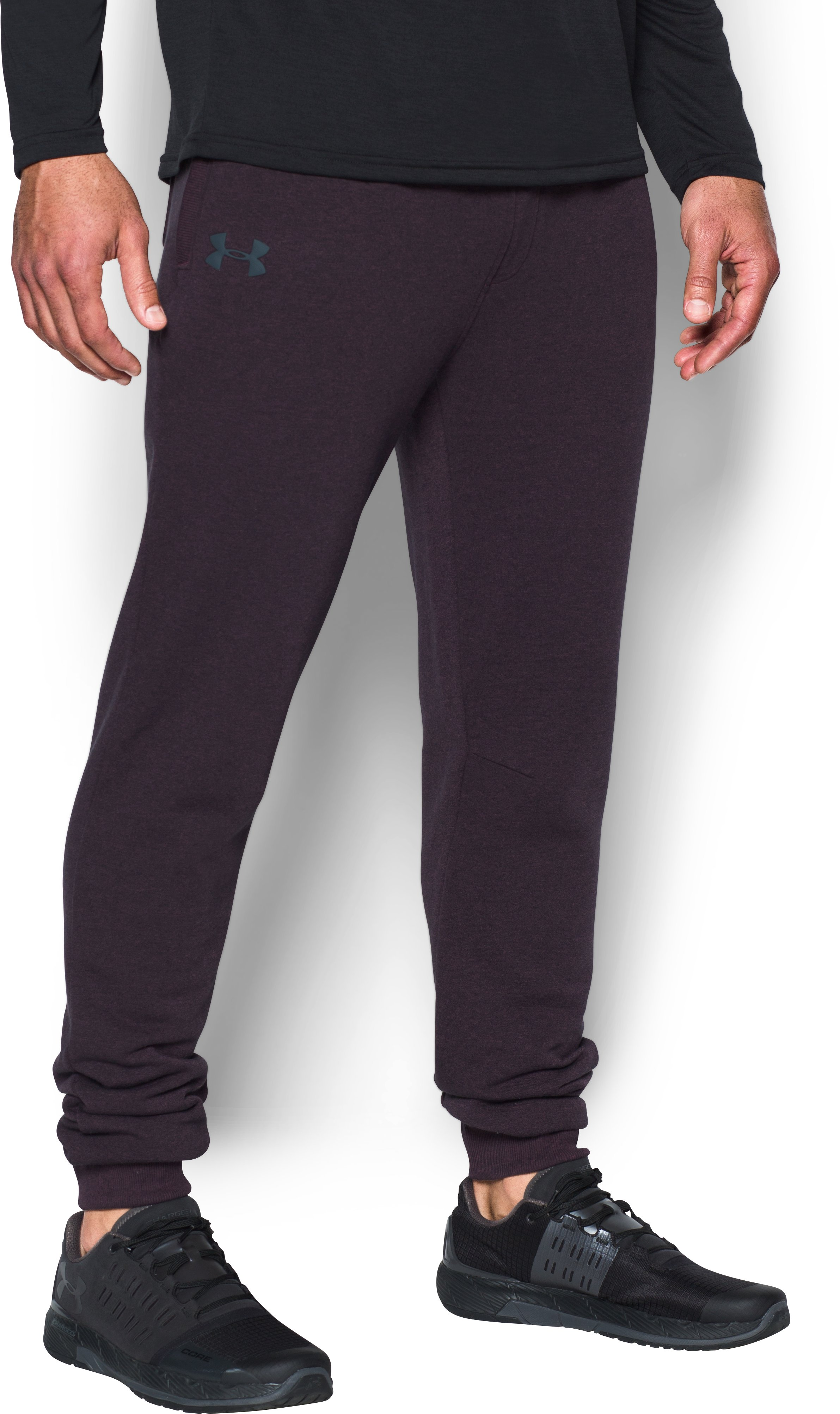 Men's UA Threadborne™ Fleece Stacked Joggers, RAISIN RED, undefined