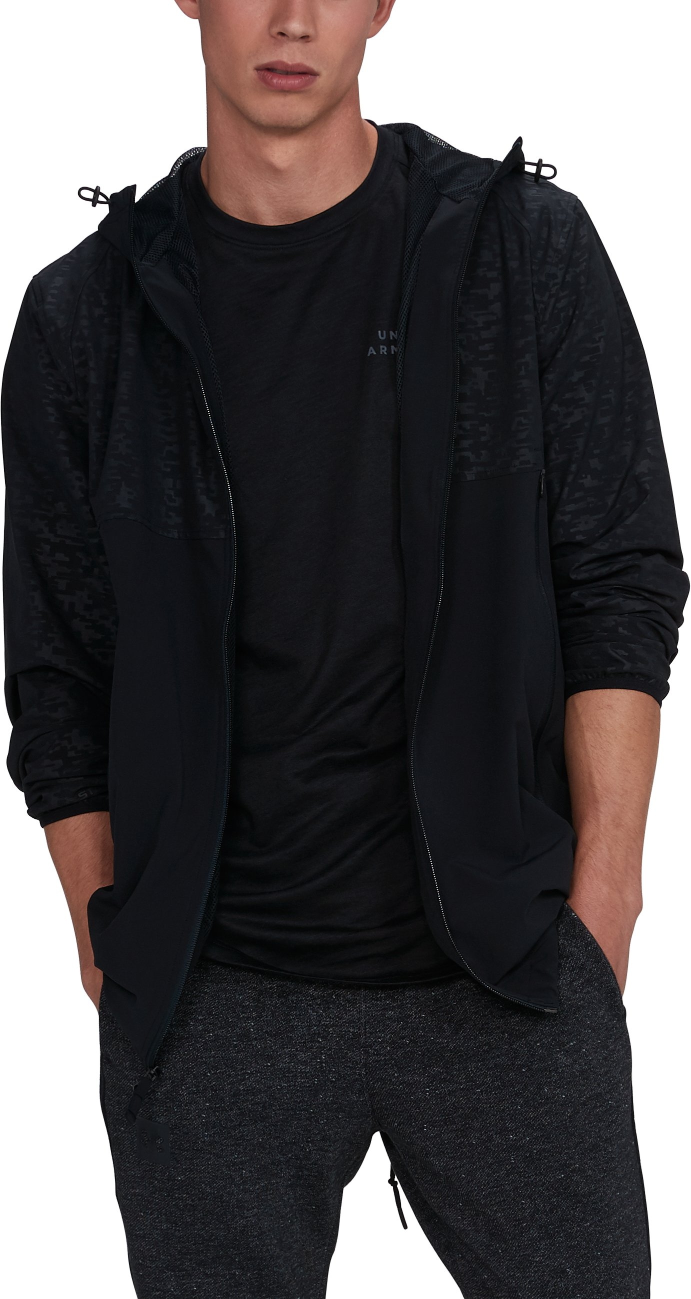 Men's UA Sportstyle Fishtail Jacket, Black ,