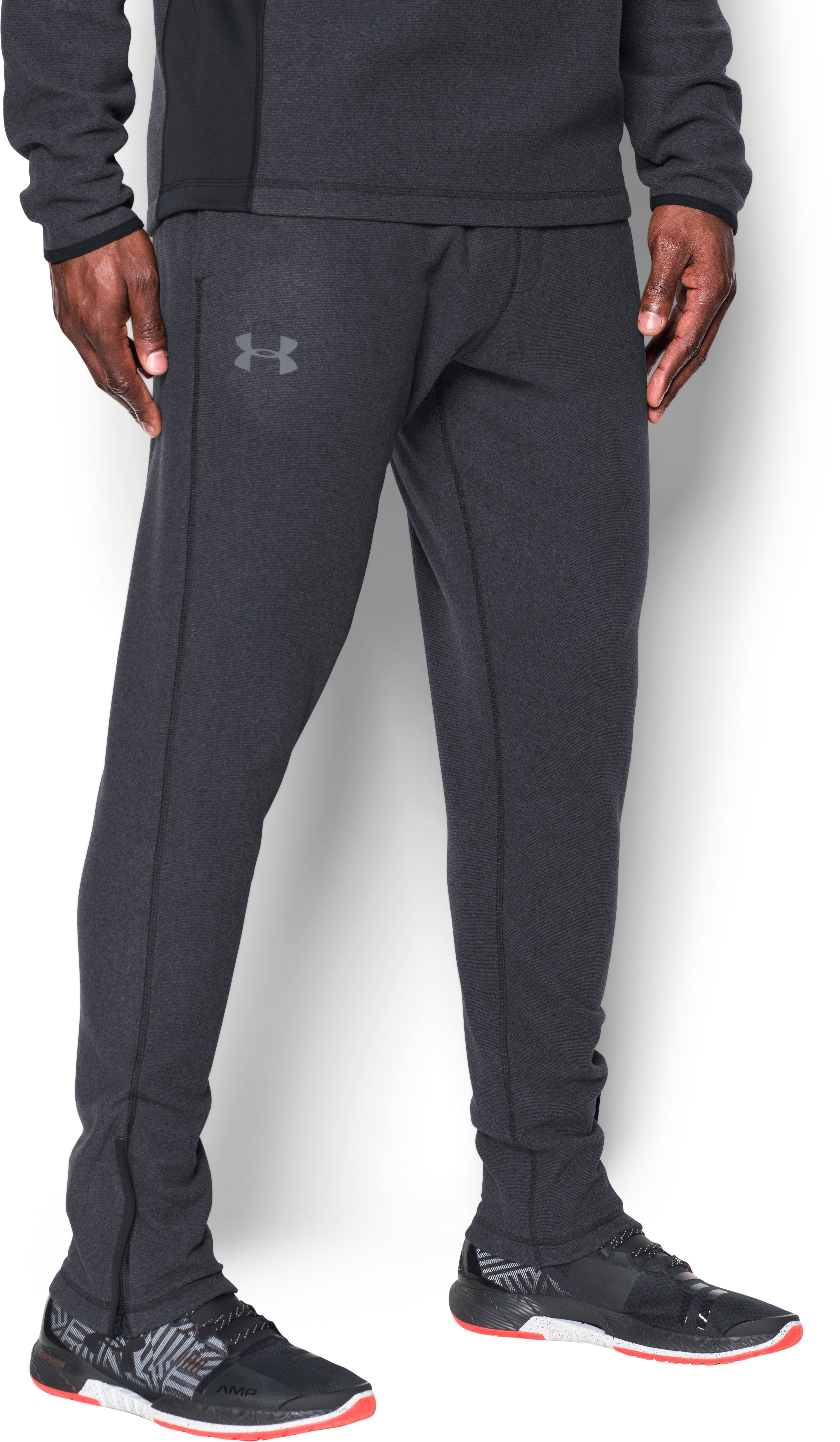 Men's UA ColdGear Infrared® Fleece Tapered Pants, Black ,