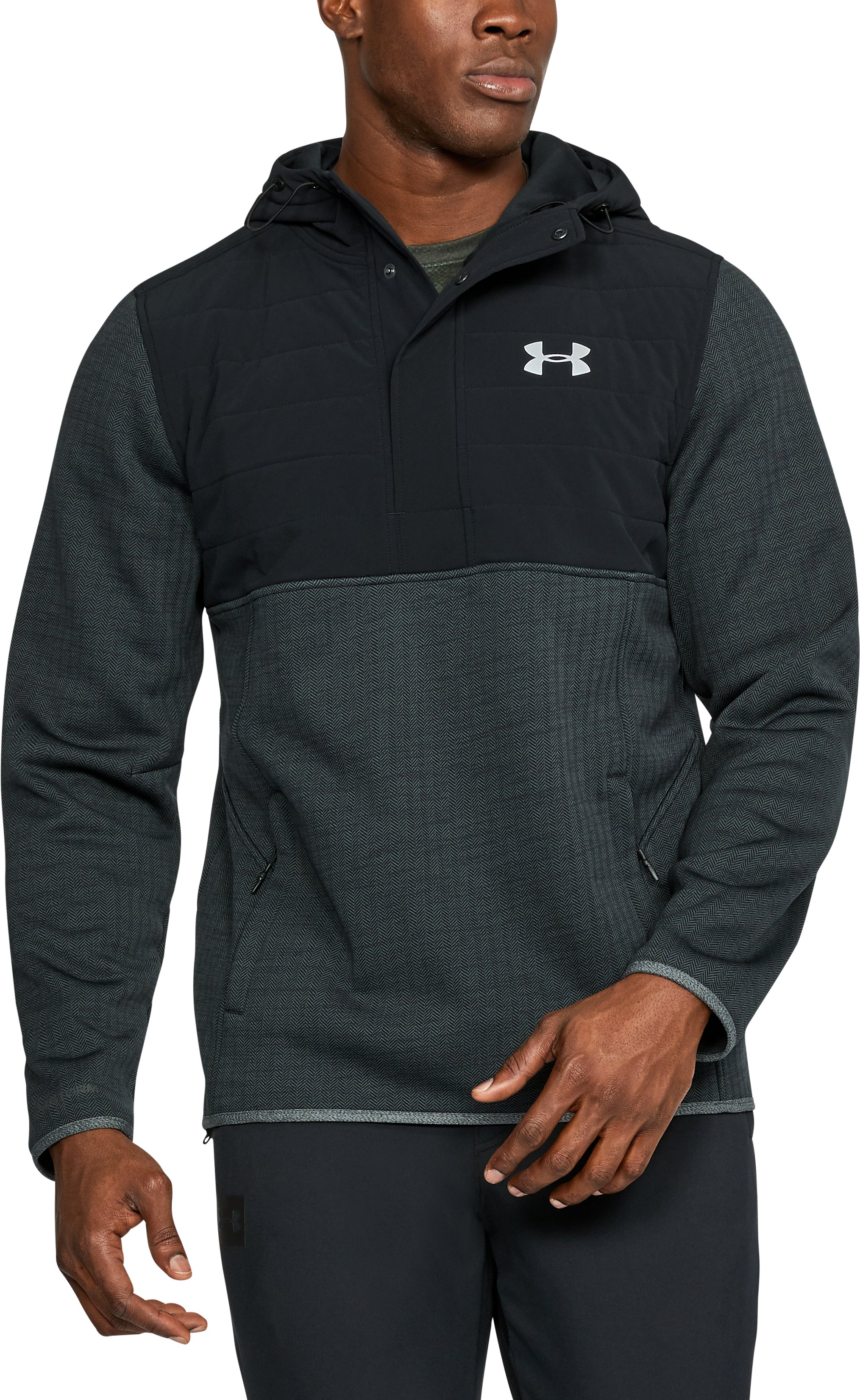 Men's UA Henley Swacket, Black , undefined