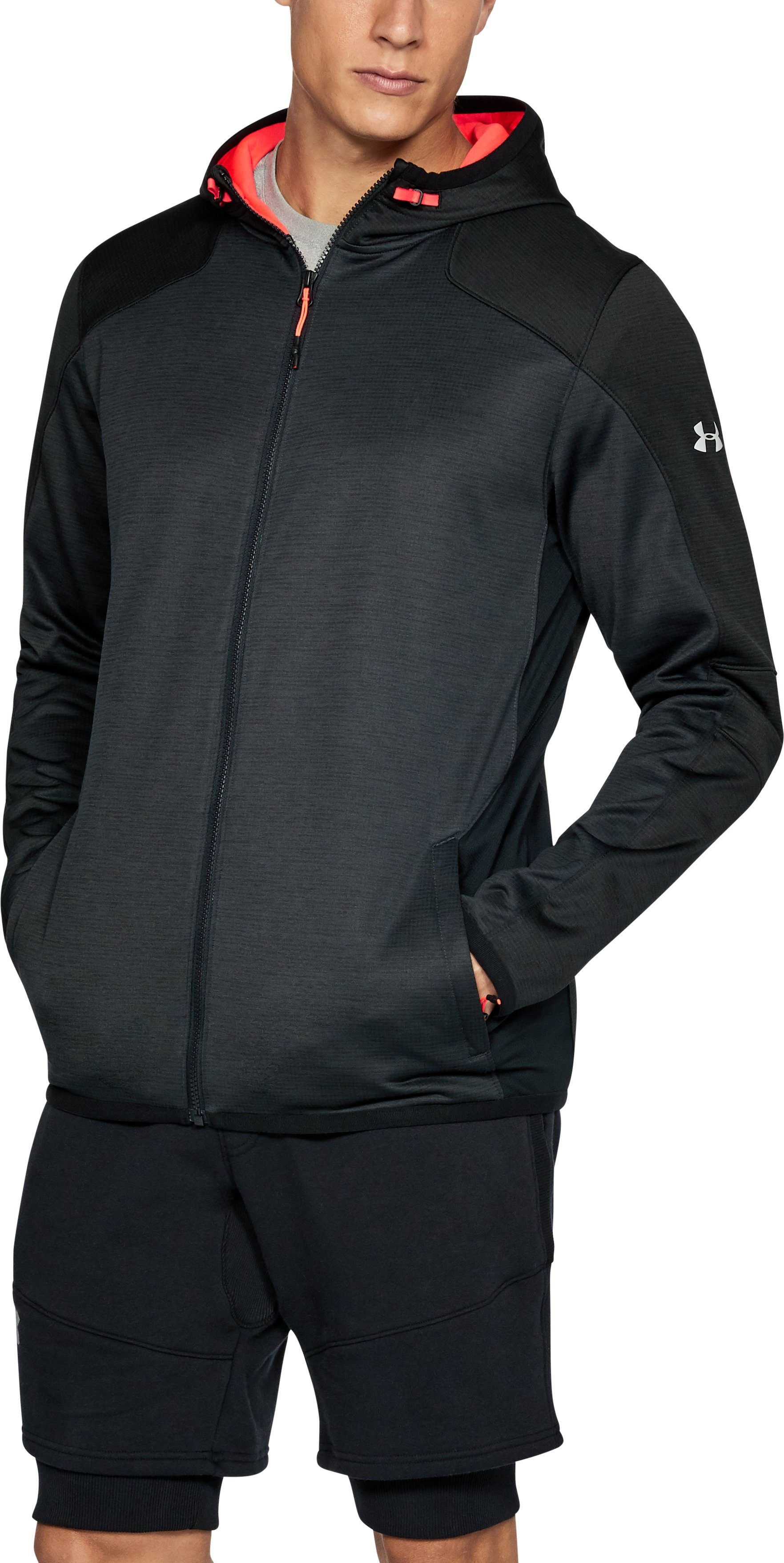 Men's ColdGear® Reactor Fleece Full Zip Hoodie, ANTHRACITE