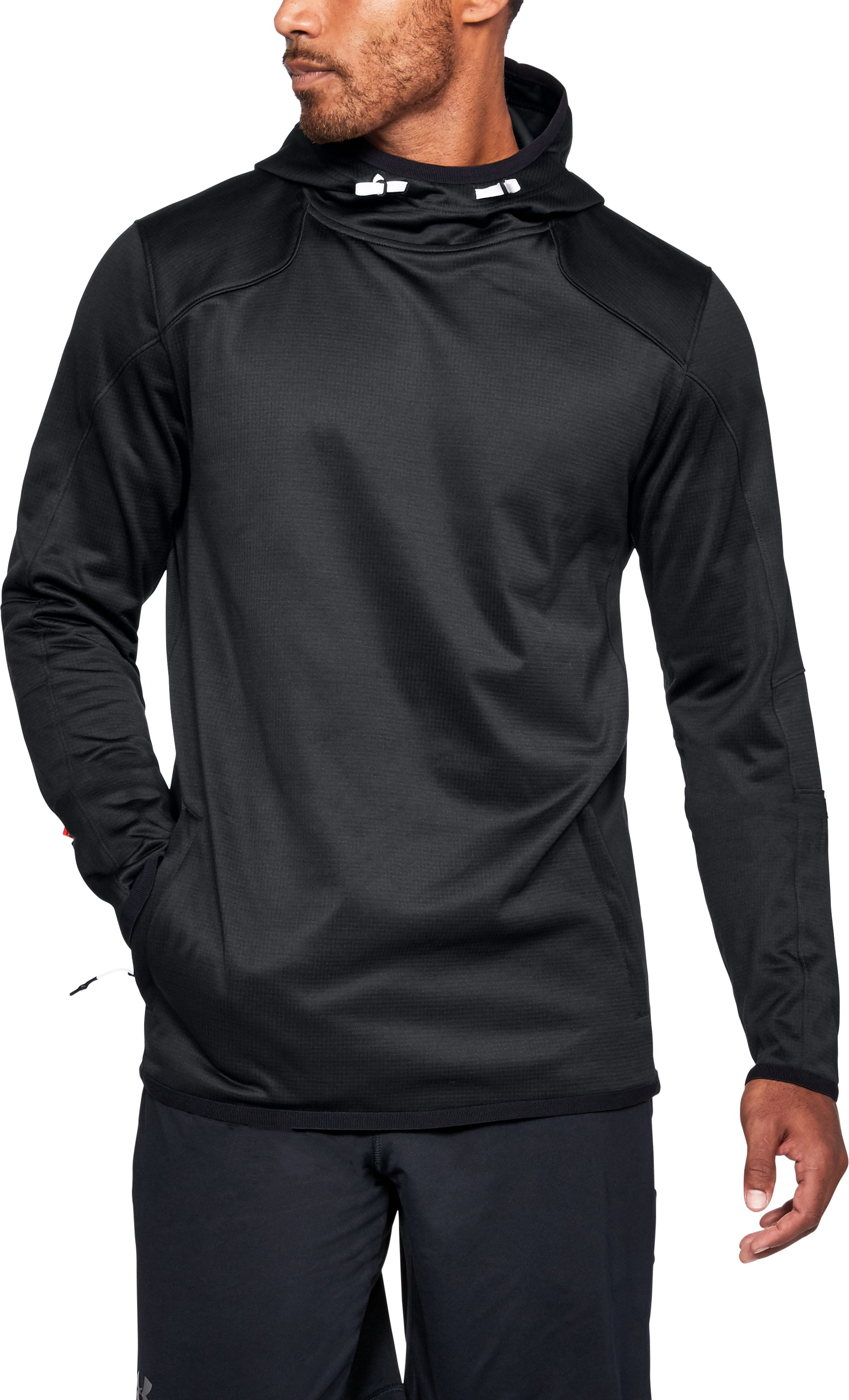 Men's ColdGear® Reactor Fleece Hoodie, Black ,