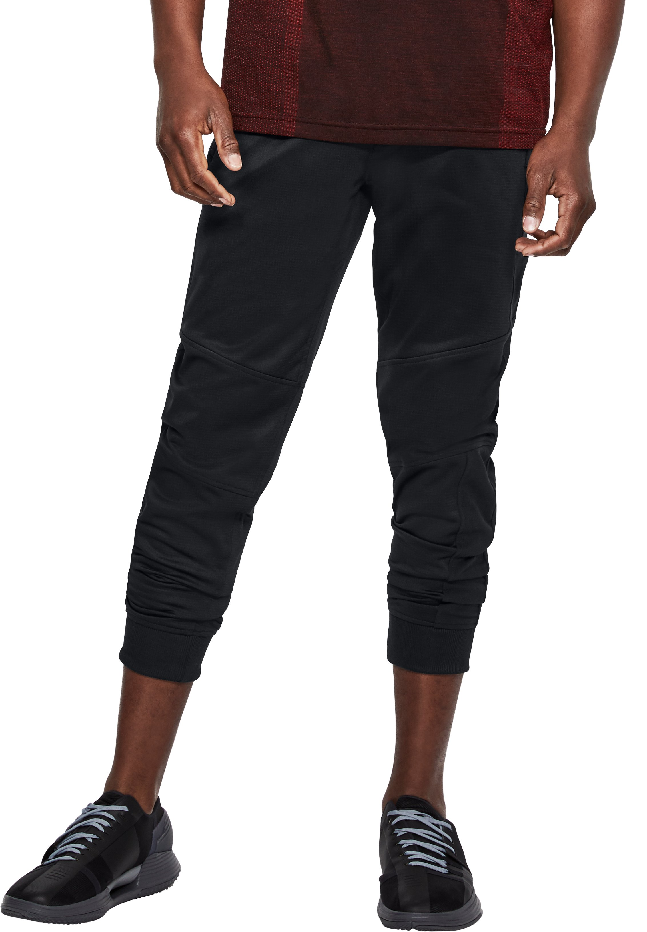 Men's ColdGear® Reactor Fleece Tapered Pants, Black ,