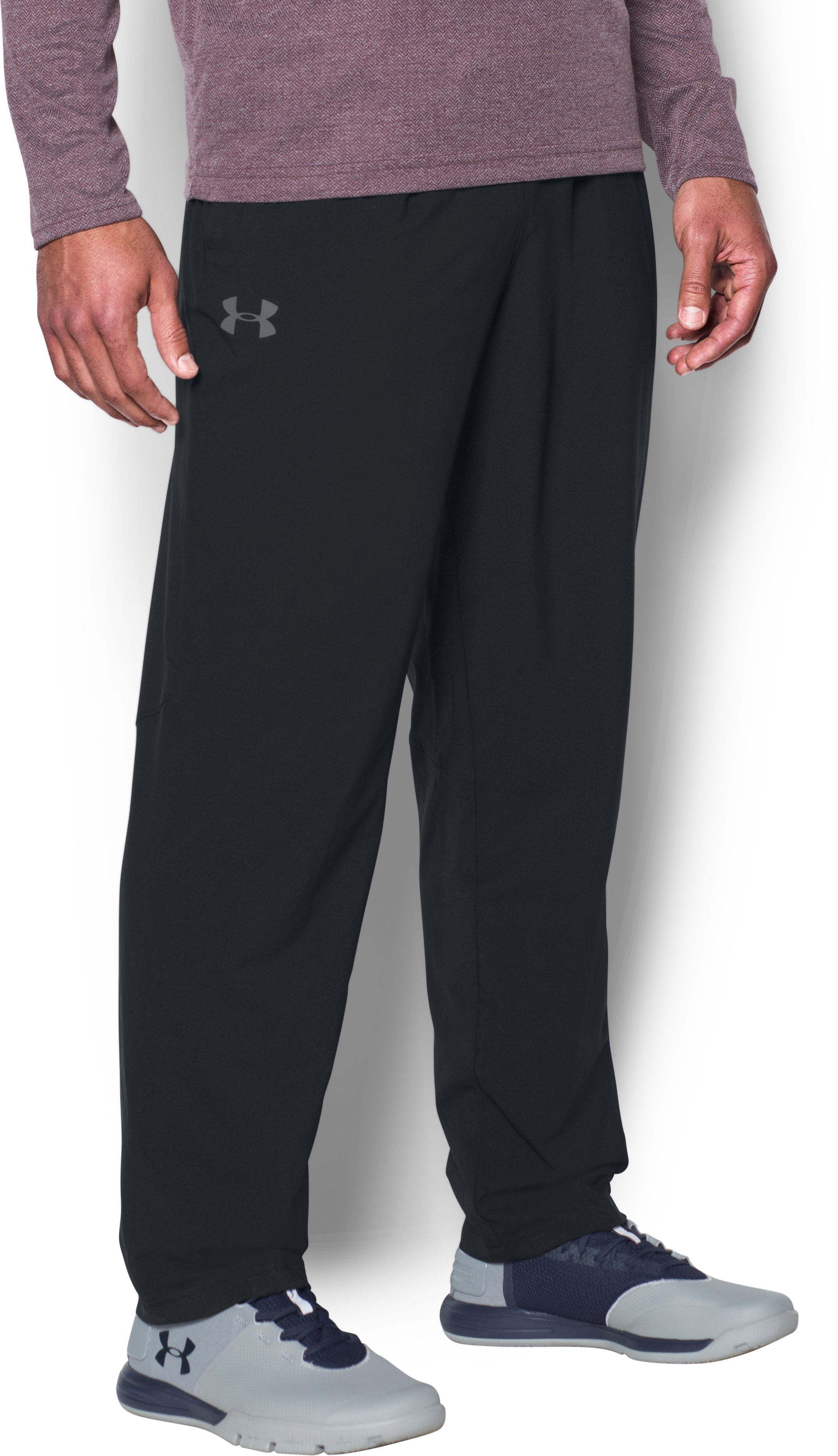 Men's UA Lined Warm-Up Pants, Black ,