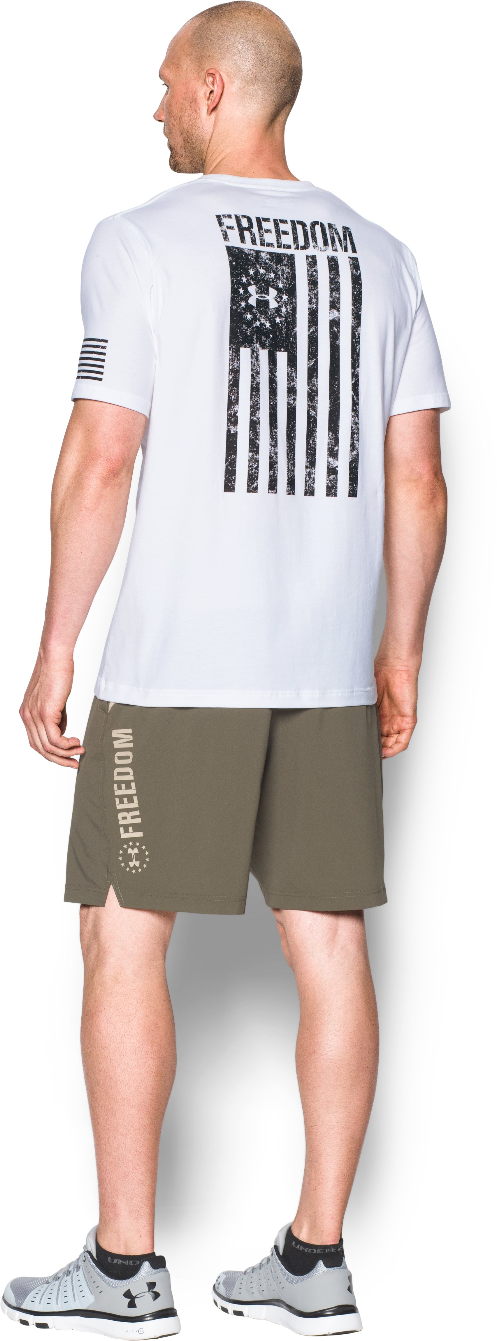 Men's UA Freedom Flag T-Shirt, White, Back