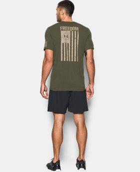 Best Seller Men's UA Freedom Flag T-Shirt  1  Color Available $24.99
