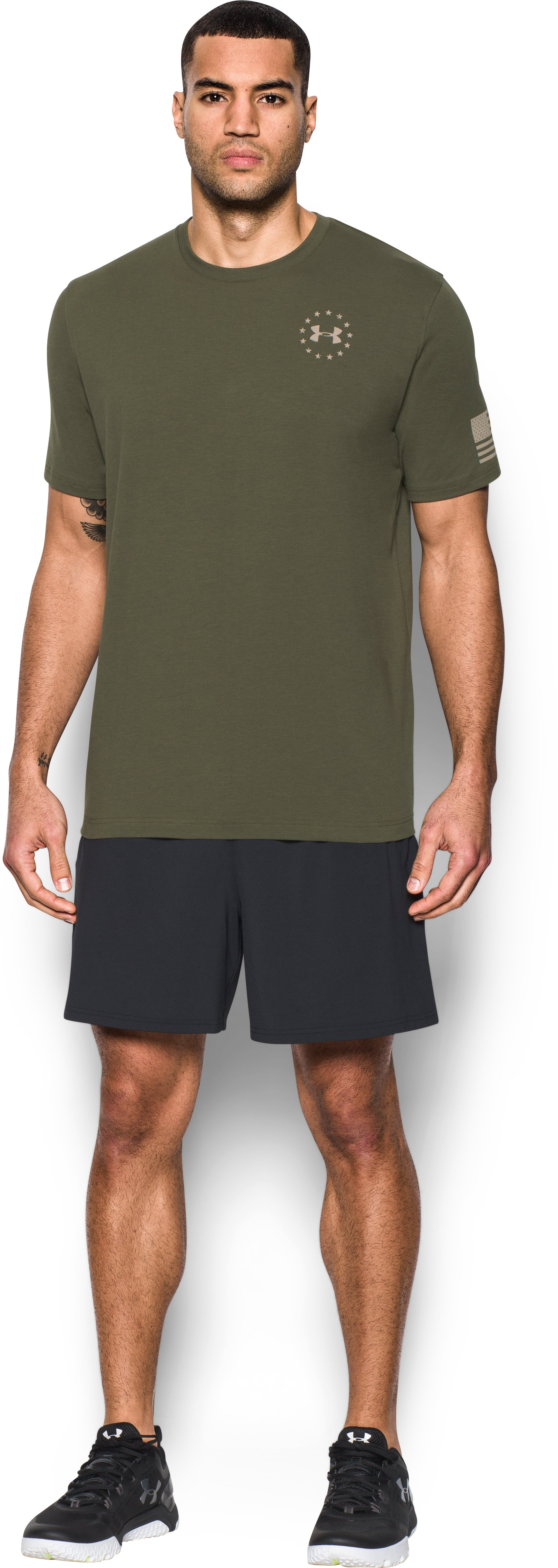 Men's UA Freedom Flag T-Shirt, Marine OD Green, Front