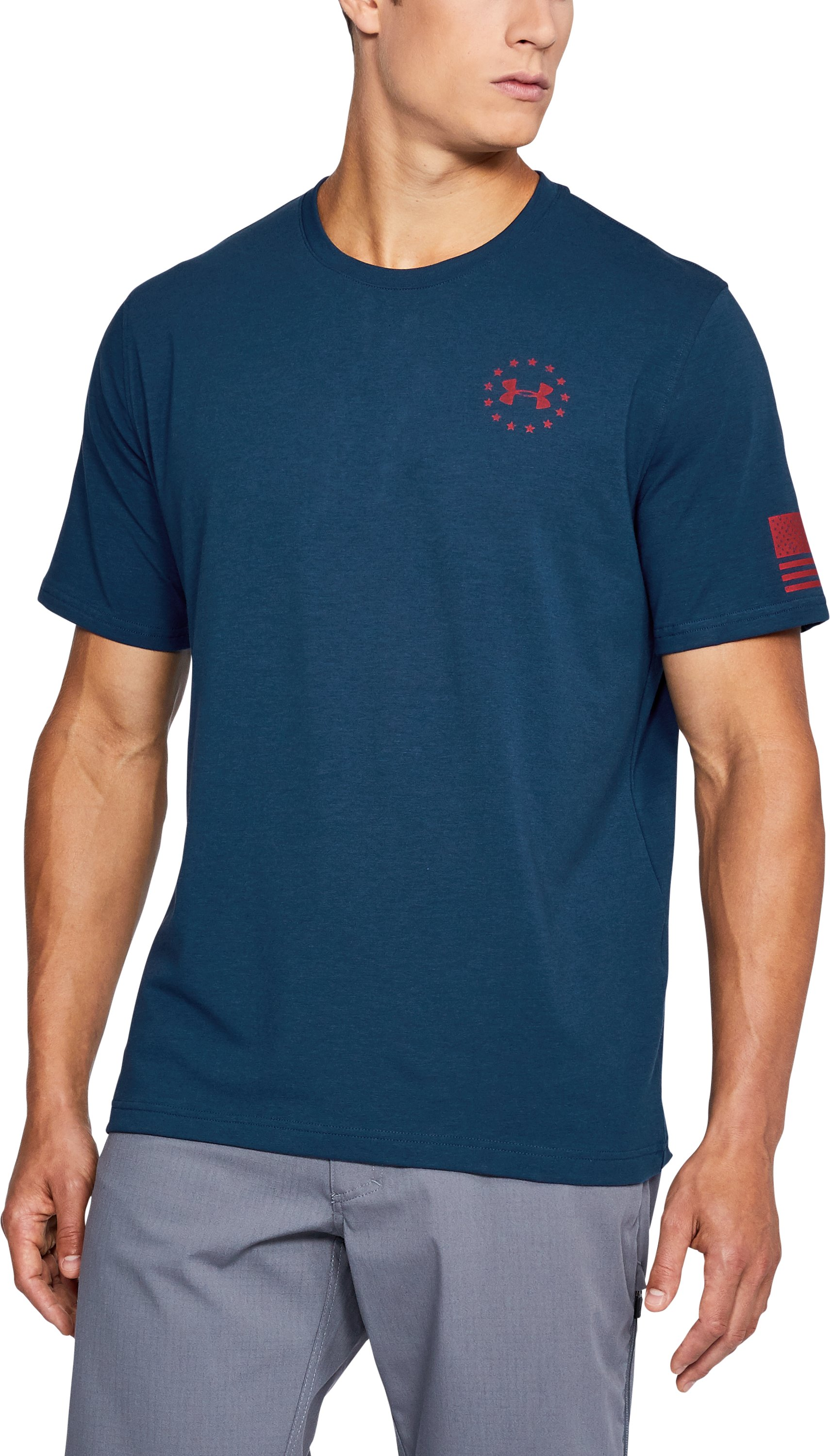 Men's UA Freedom Flag T-Shirt, BLACKOUT NAVY, undefined