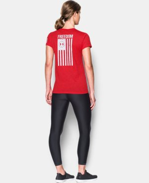 New Arrival Women's UA Charged Cotton® Tri-Blend Freedom Flag T-Shirt   $29.99