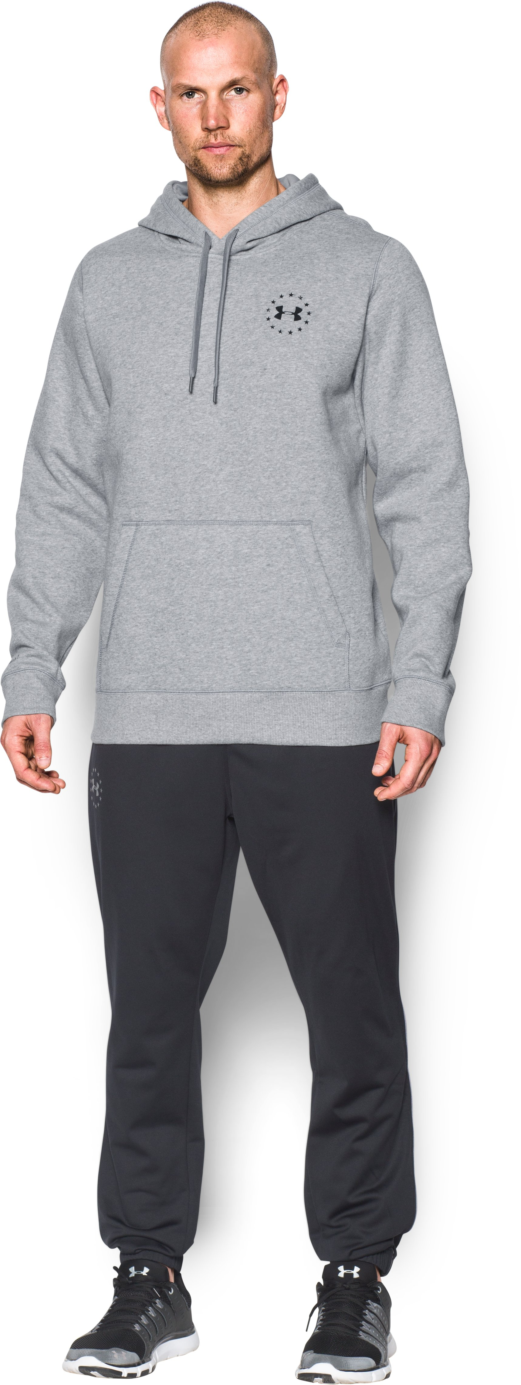 Men's UA Freedom Flag Hoodie, True Gray Heather, Front