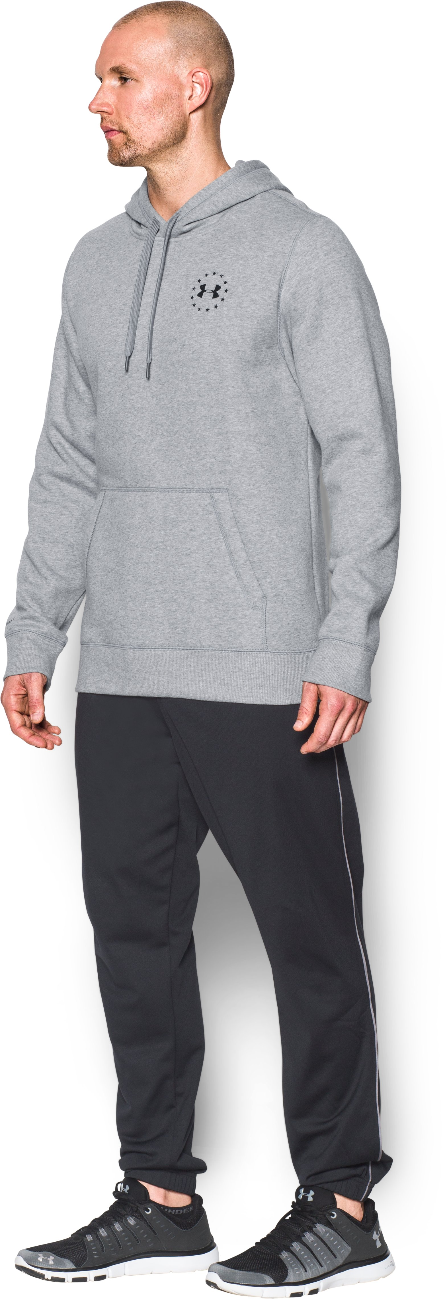 Men's UA Freedom Flag Hoodie, True Gray Heather, undefined