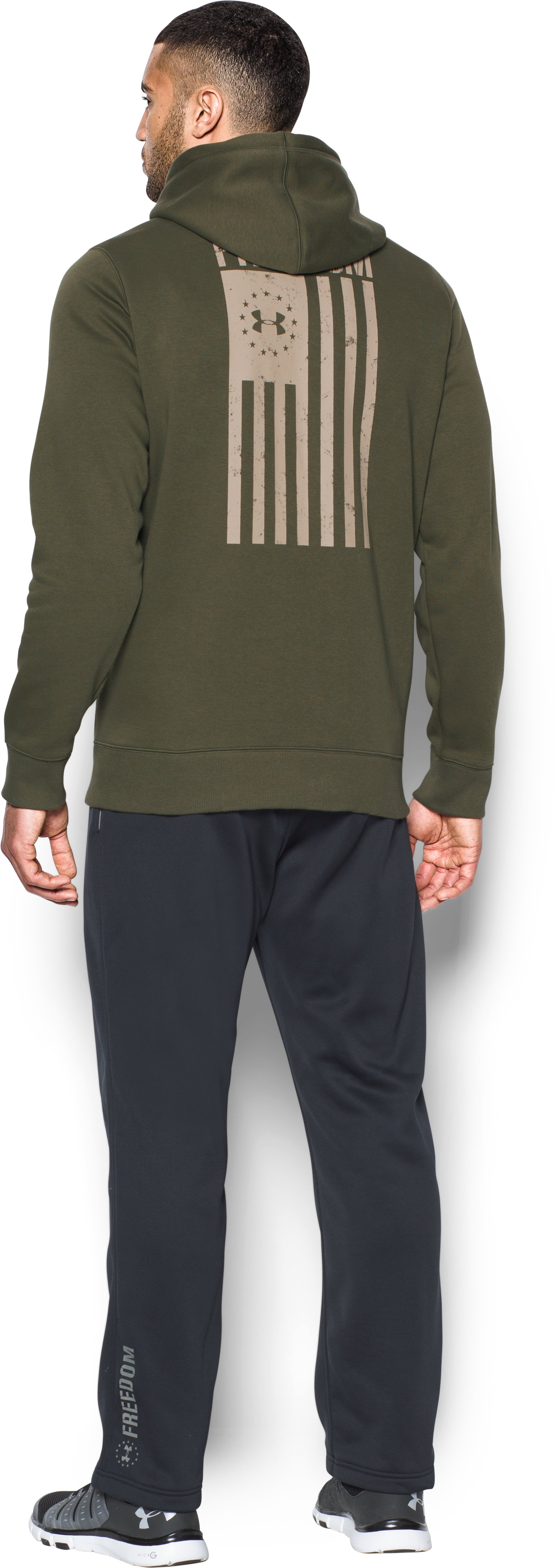 Men's UA Freedom Flag Hoodie, Marine OD Green, Back