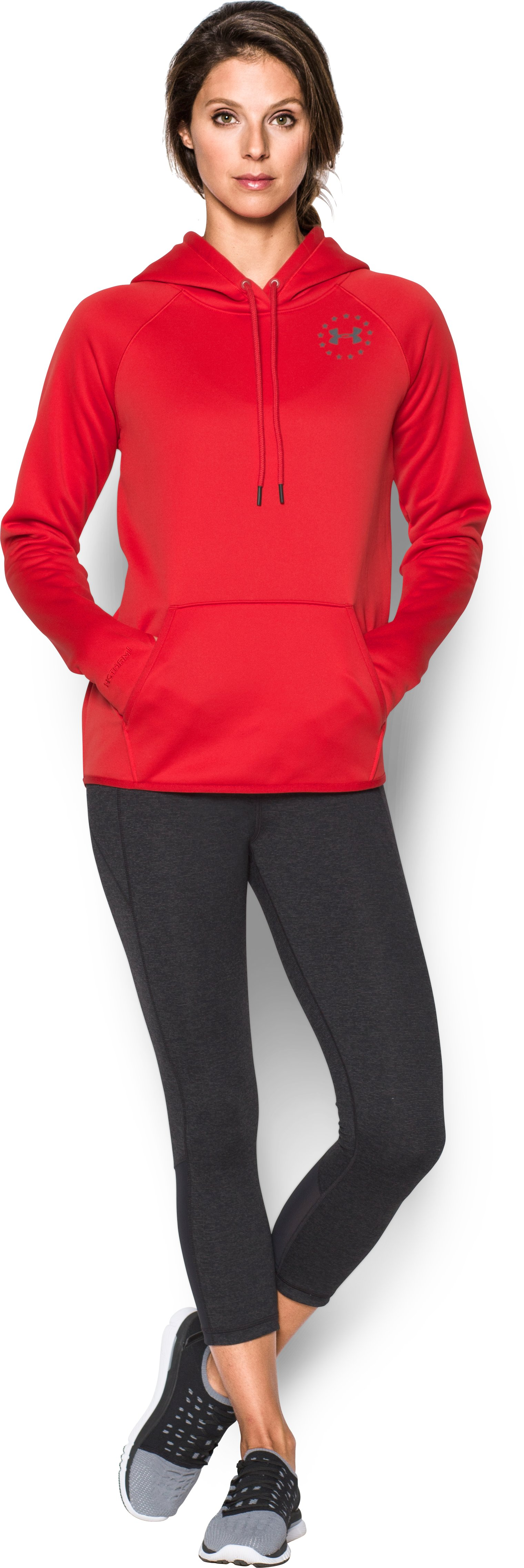 Women's UA Rival Freedom Flag Hoodie, Red, Front