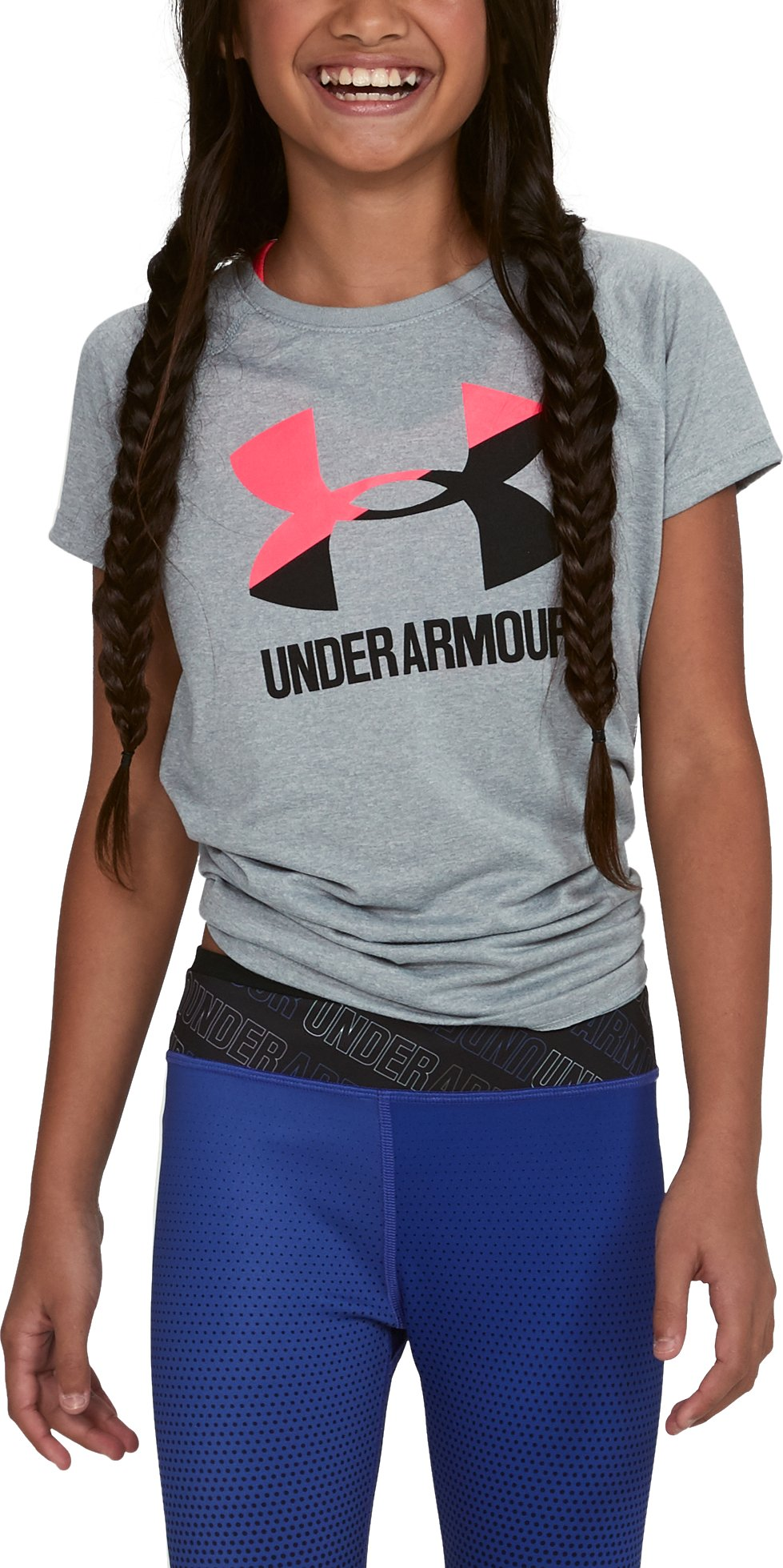 Girls' UA Big Logo T-Shirt, STEEL LIGHT HEATHER, undefined