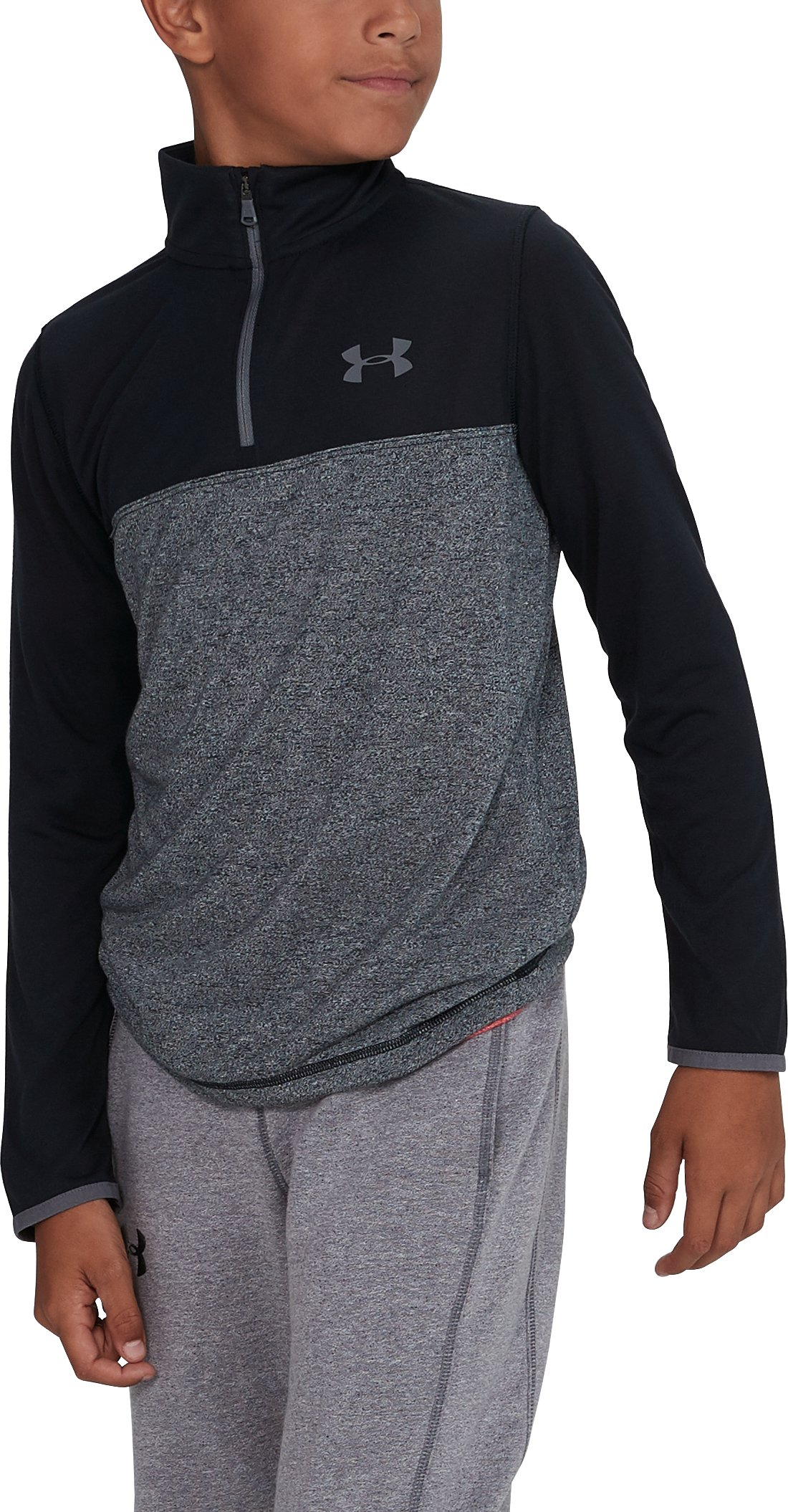 Boys' UA Threadborne™ ¼ Zip, Black