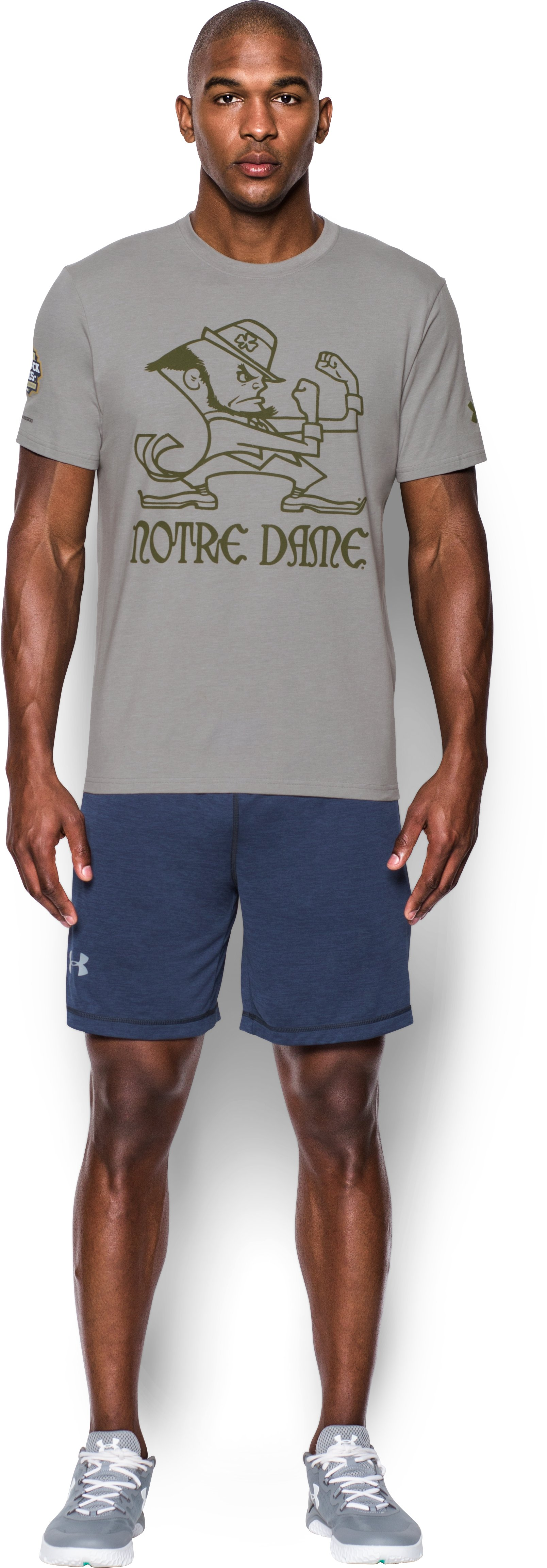 Men's Notre Dame UA Leprechaun T-Shirt, True Gray Heather, Front