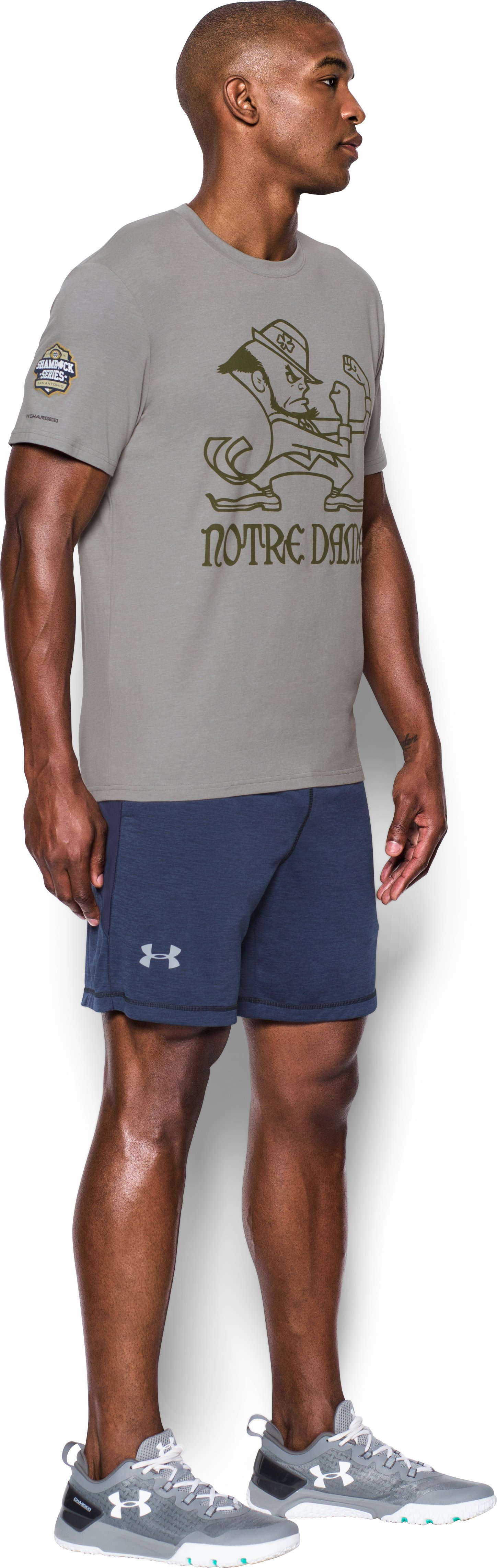 Men's Notre Dame UA Leprechaun T-Shirt, True Gray Heather, undefined