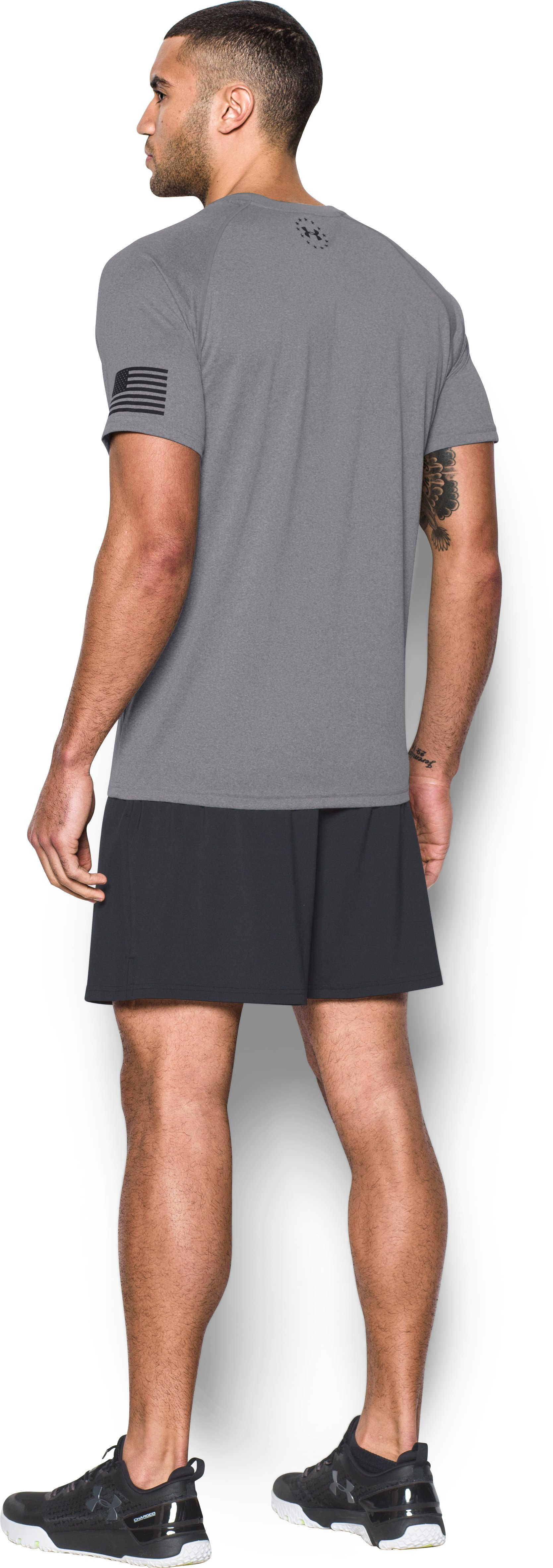 Men's UA Freedom Tech™ T-Shirt, True Gray Heather, Back