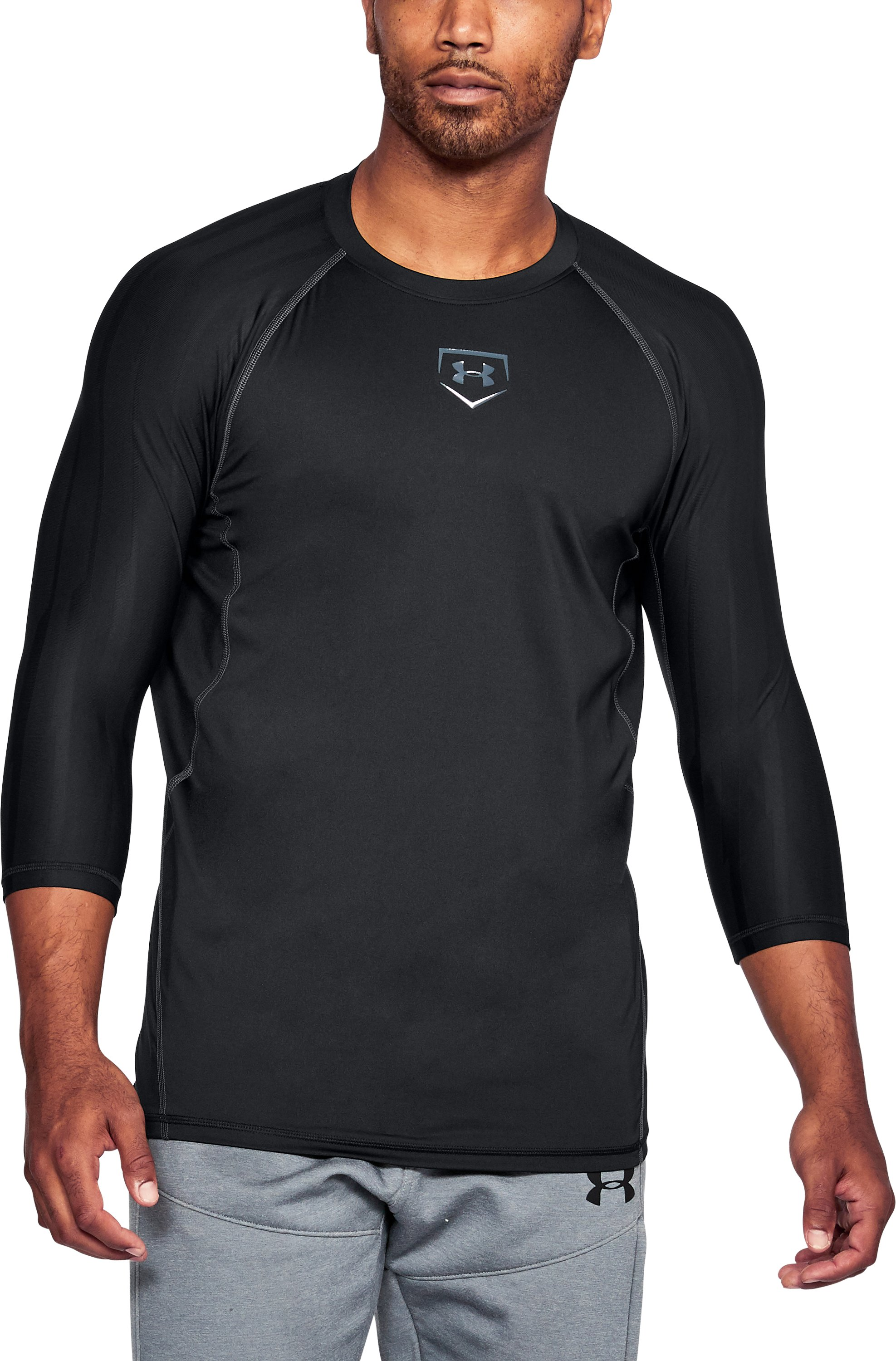 Men's HeatGear® Armour Zone Compression ¾ Sleeve T-Shirt, Black , undefined