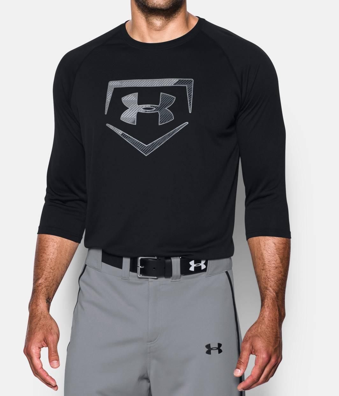 Men 39 s ua plate logo sleeve t shirt under armour us for Under armour half sleeve shirt
