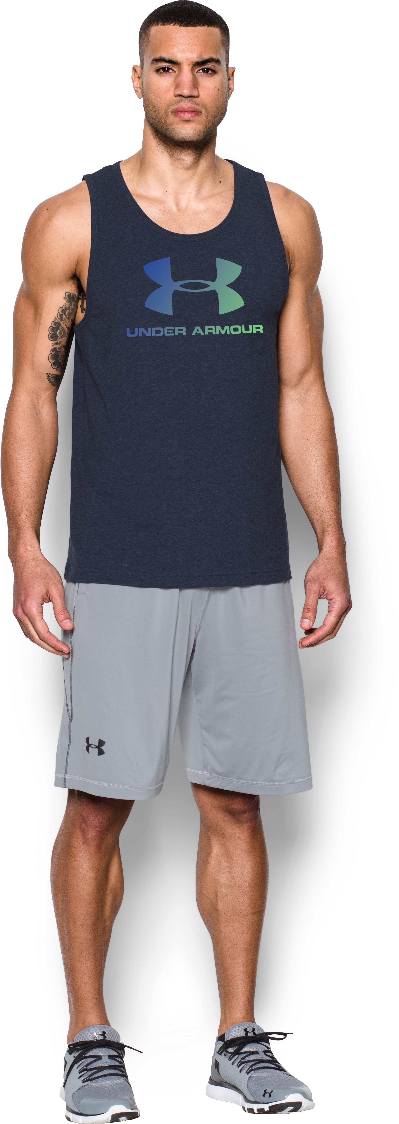 Men's UA Sportstyle Logo Tank, Midnight Navy, Front