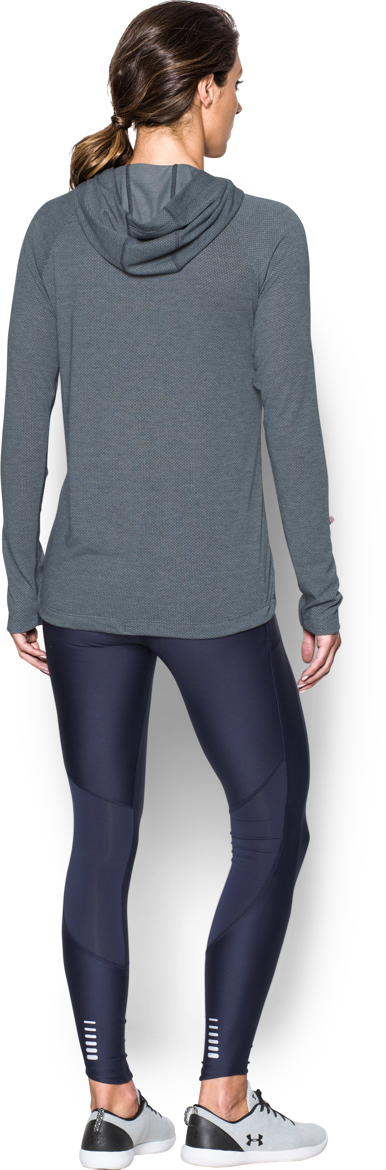 Women's UA Threadborne™ Elite Hoodie, STEALTH GRAY, Back