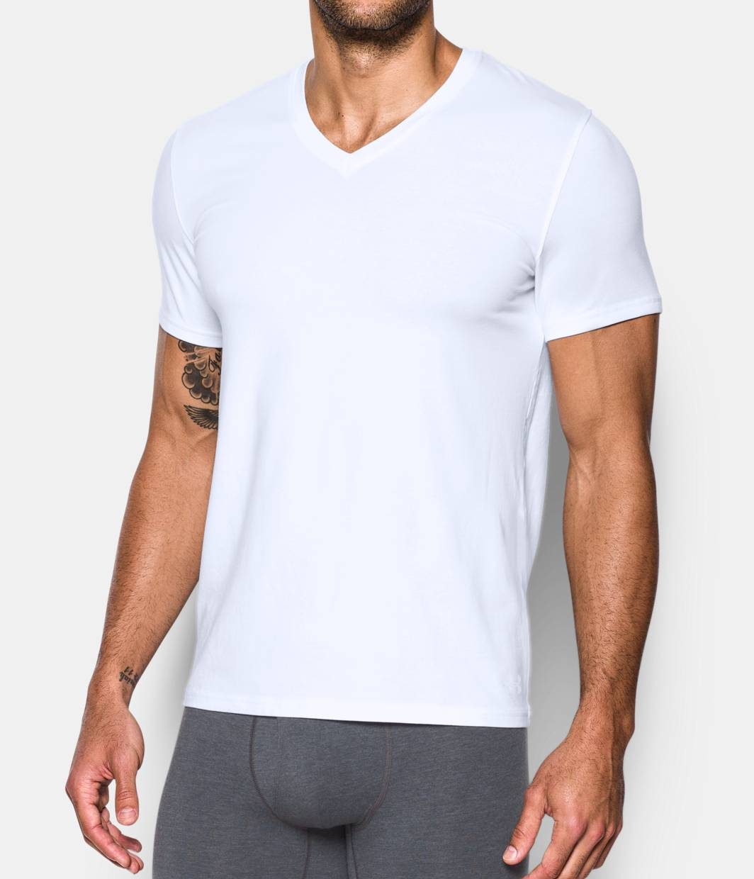 Men 39 s charged cotton v neck undershirt 2 pack under for Mens under armour under shirt