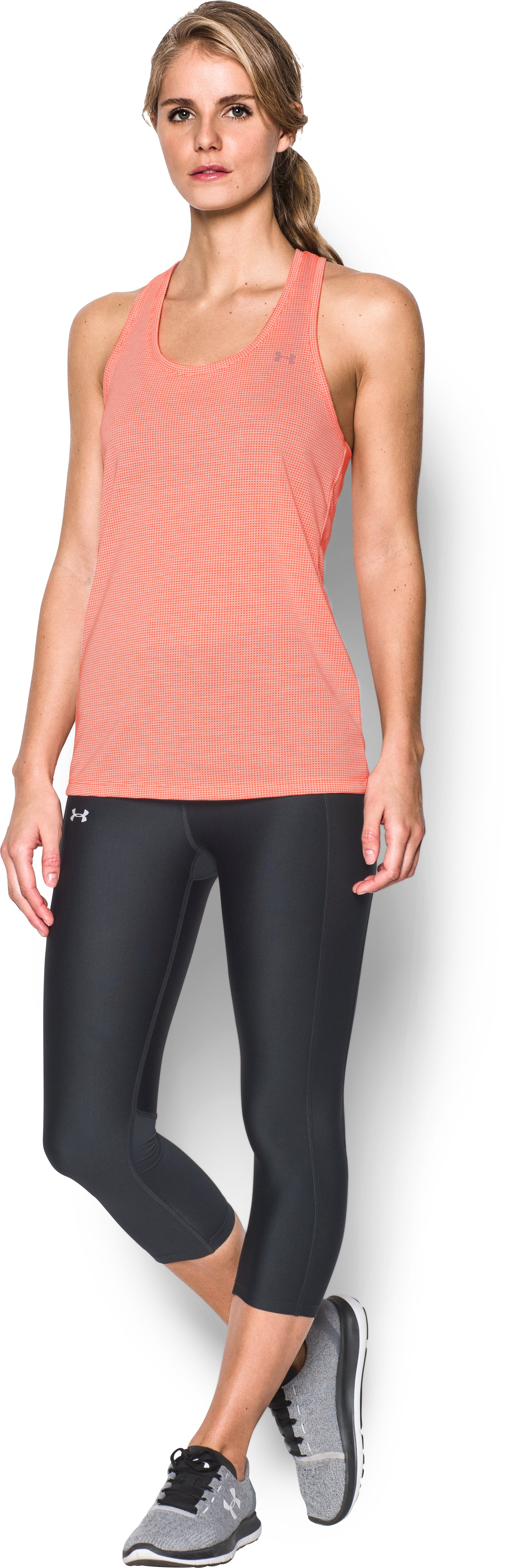 Women's UA Threadborne Train Grid Tank, LONDON ORANGE