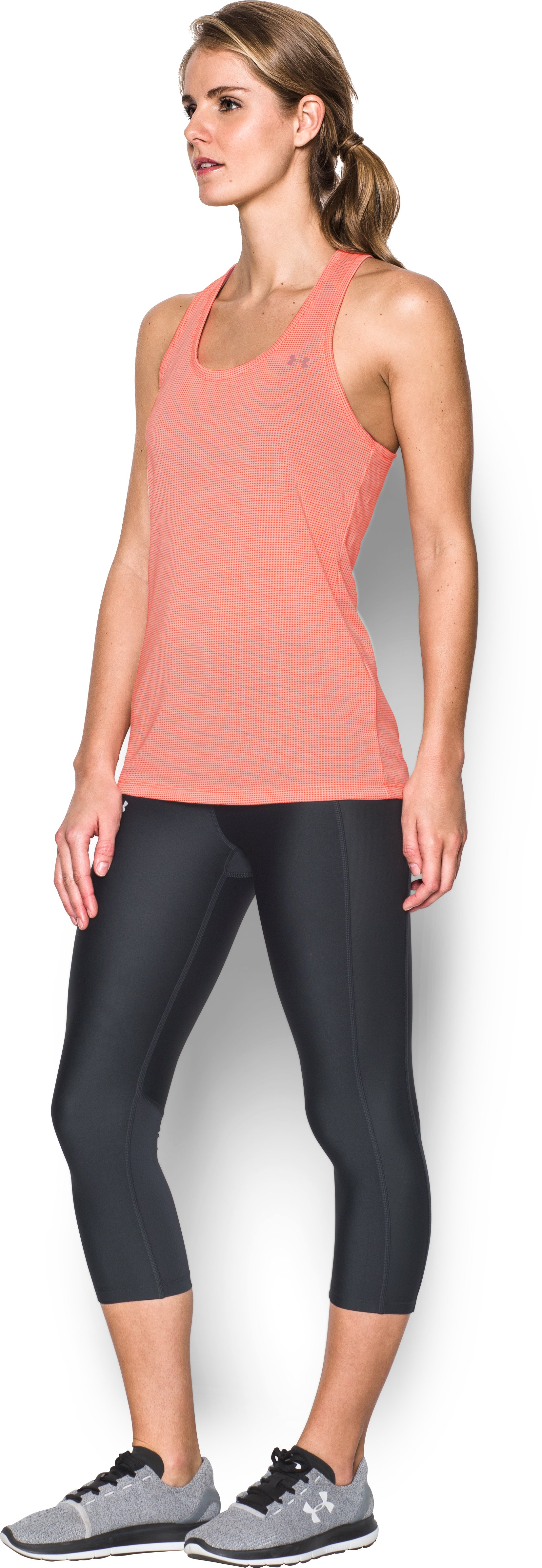 Women's UA Threadborne Train Grid Tank, LONDON ORANGE, undefined