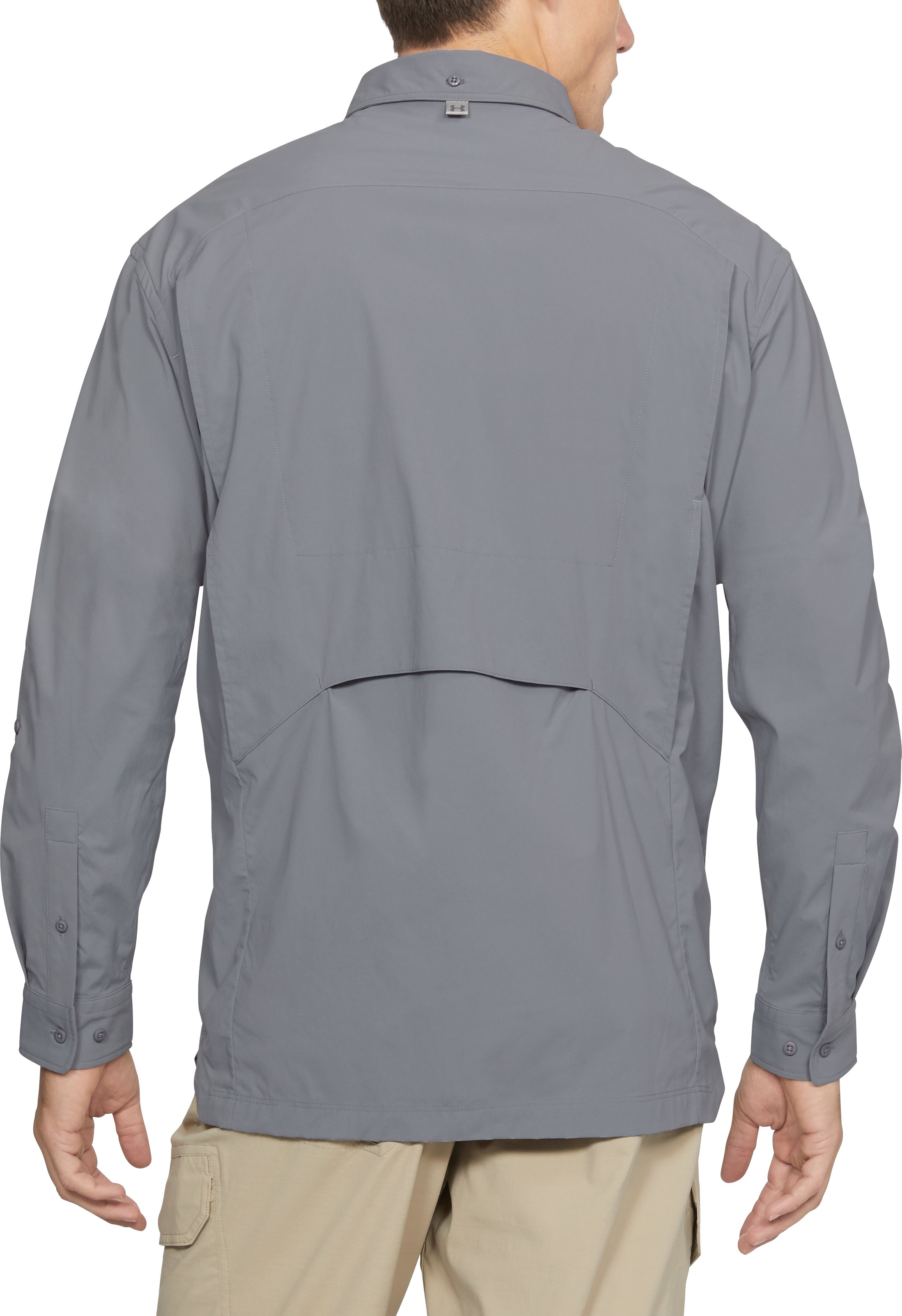 Men's UA Fish Hunter Solid Long Sleeve, Steel,