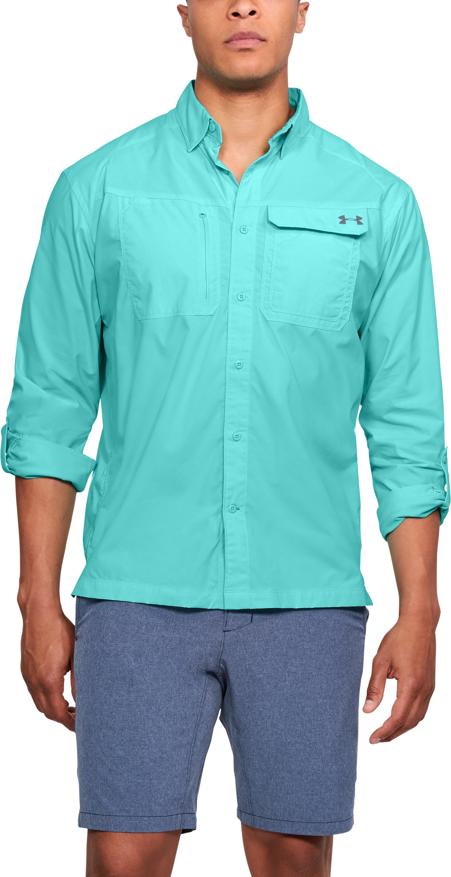 Men's UA Fish Hunter Solid Long Sleeve, TROPICAL TIDE
