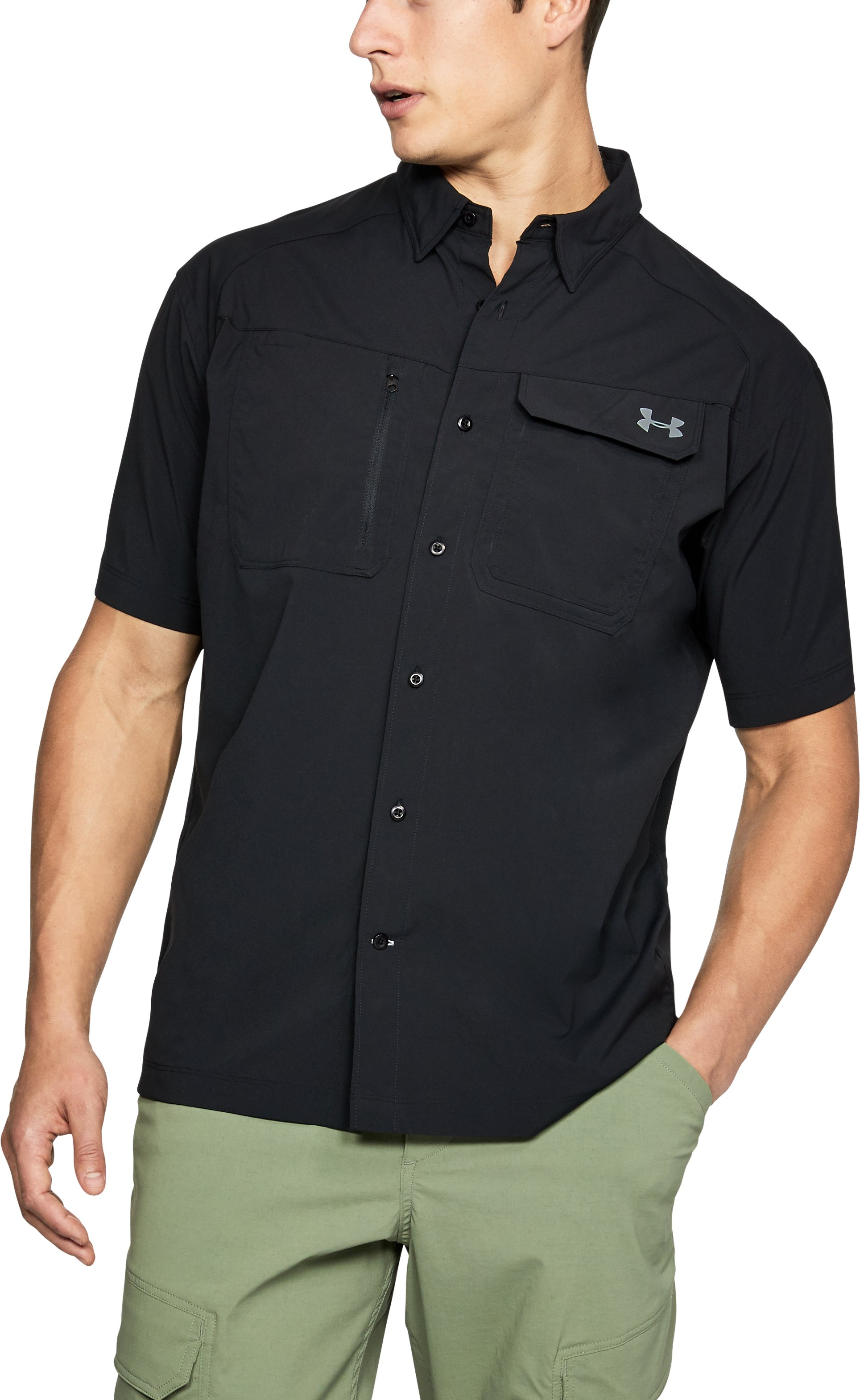 Men's UA Fish Hunter Solid Short Sleeve, Black