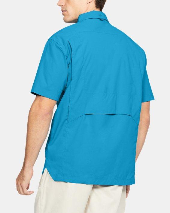 Men's UA Fish Hunter Solid Short Sleeve, Blue, pdpMainDesktop image number 2