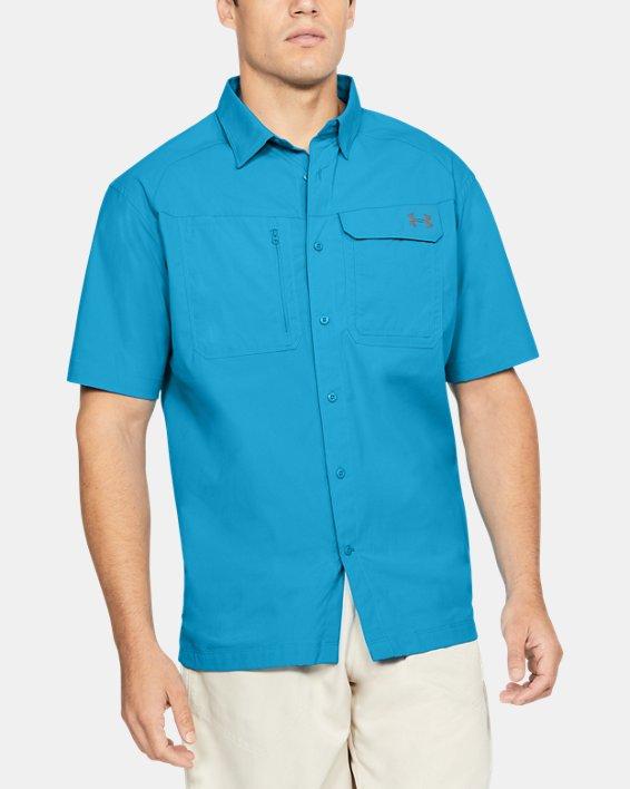 Men's UA Fish Hunter Solid Short Sleeve, Blue, pdpMainDesktop image number 0