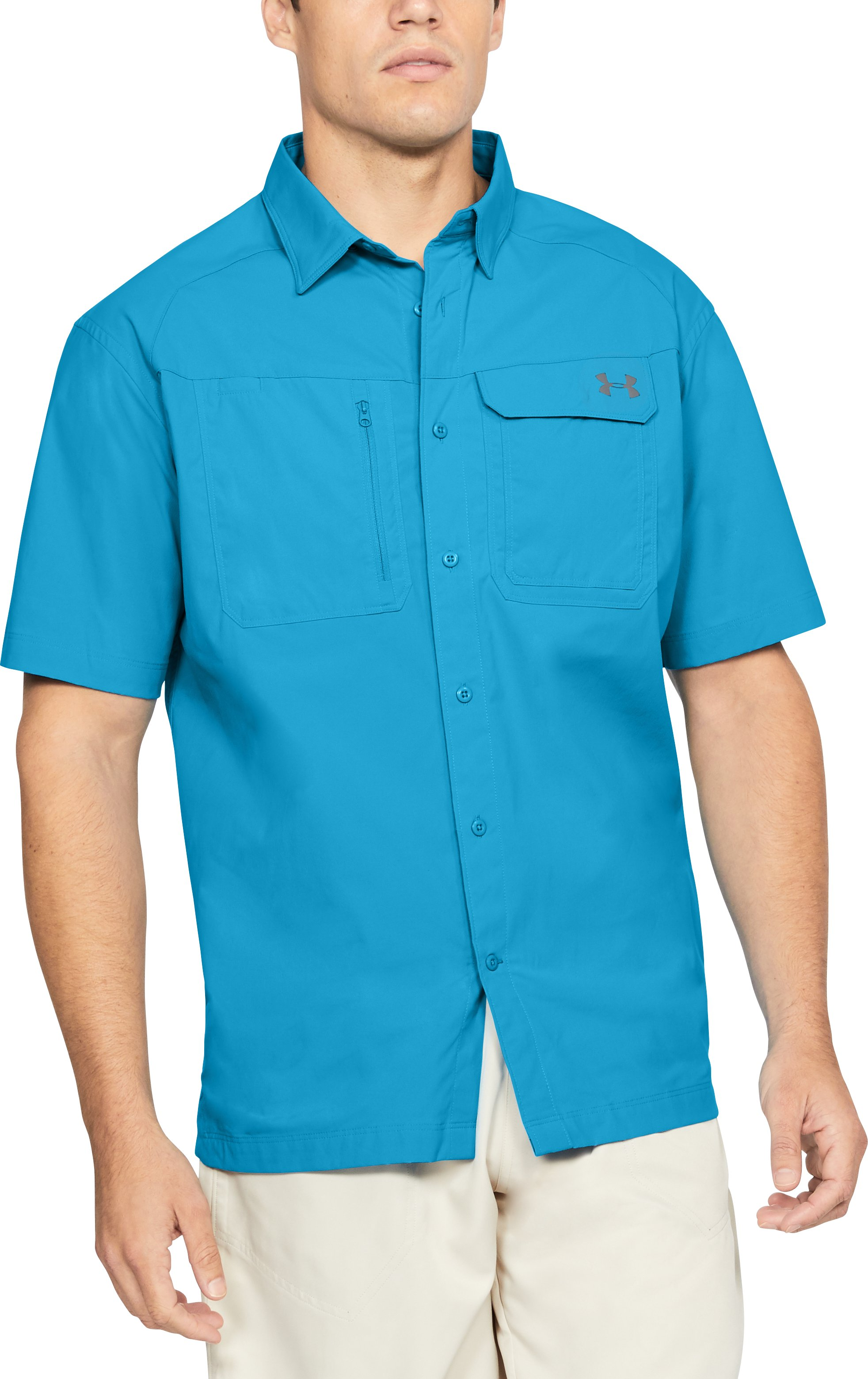Men's UA Fish Hunter Solid Short Sleeve, CANOE BLUE