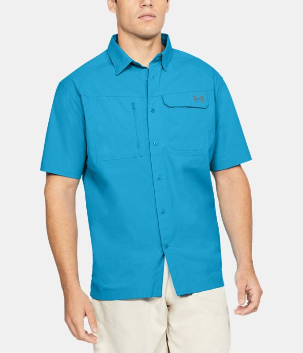 Men 39 s ua fish hunter solid short sleeve under armour us for Button down fishing shirts