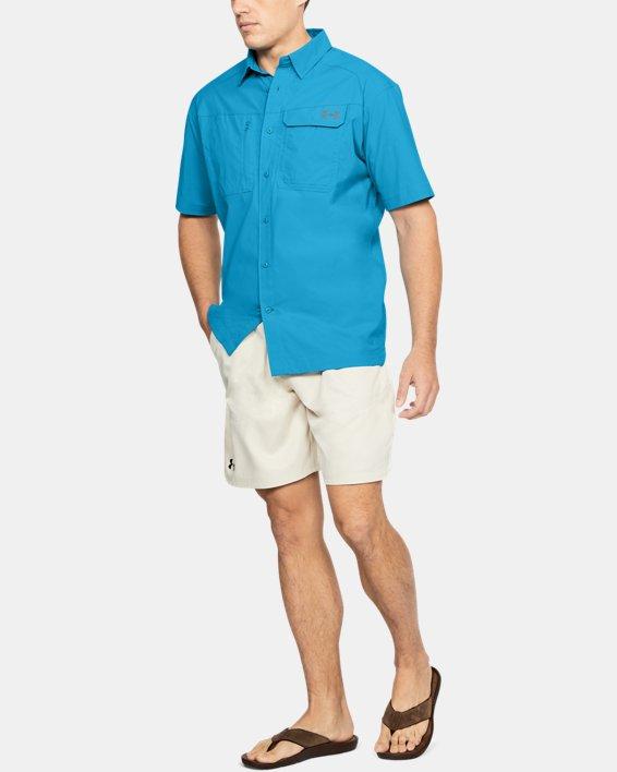 Men's UA Fish Hunter Solid Short Sleeve, Blue, pdpMainDesktop image number 1