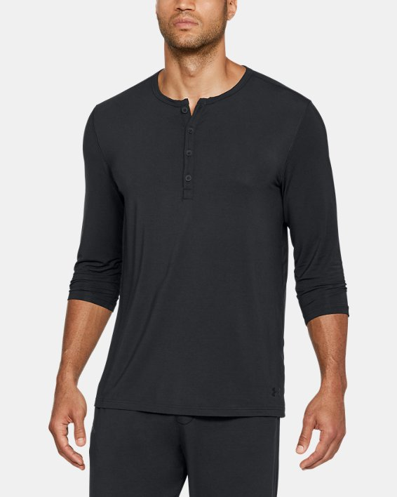Men's UA RECOVER™ Ultra Comfort Sleepwear Henley, Black, pdpMainDesktop image number 0